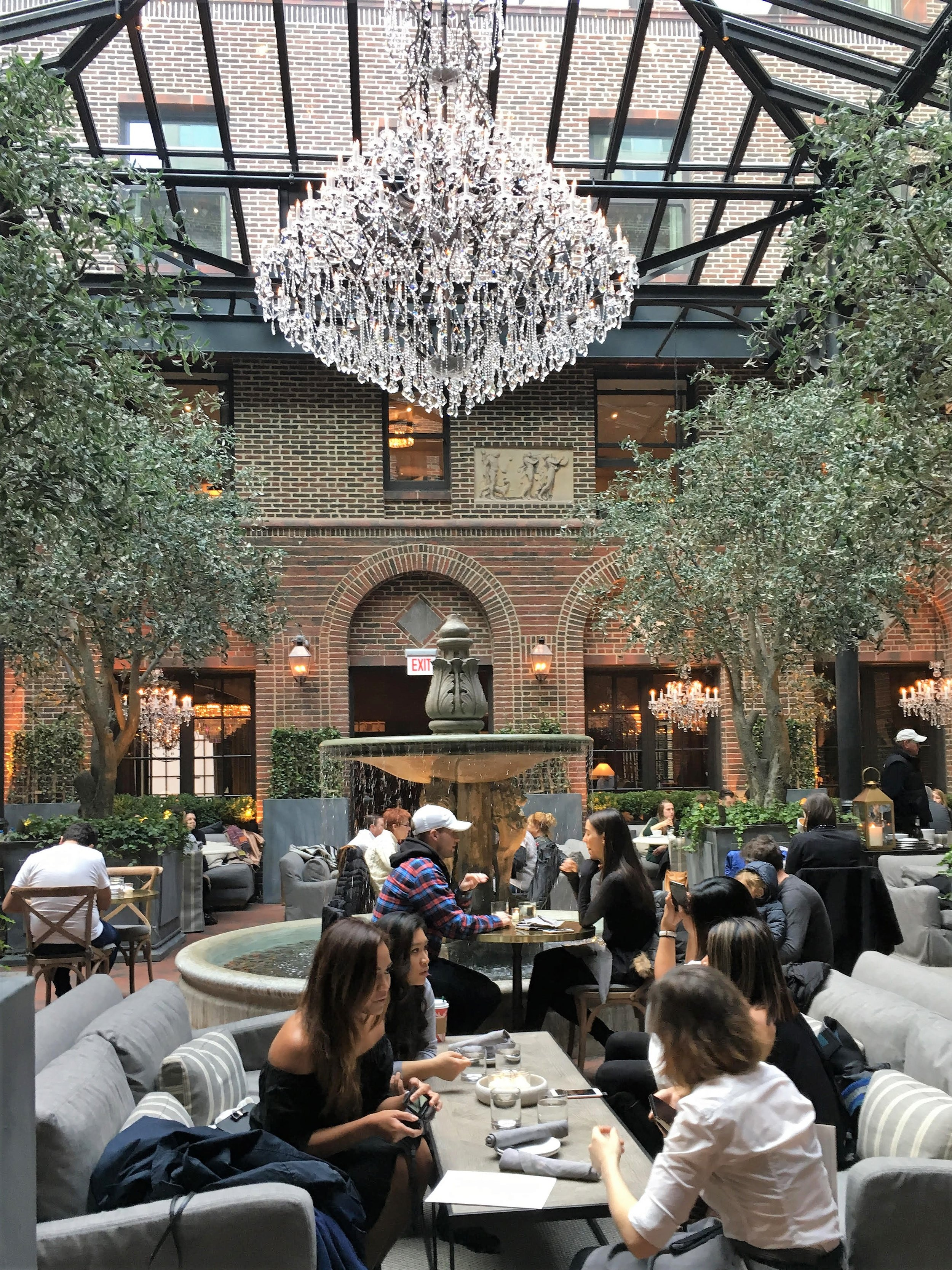 Wander through Restoration Hardware and peruse furniture with drink in hand or grab a seat under the beautiful skylight for a leisurely meal.