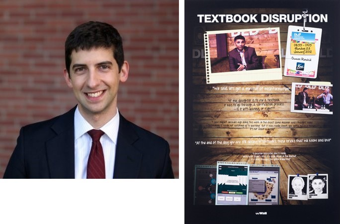 Drew Jacobs, Class of 2018 discusses Simon Denny's 08.55 Textbook Disruption (pictured) and Janice Kerbel's Ballgame.
