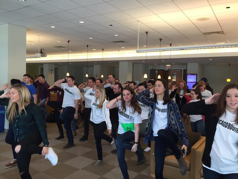 Boothies practicing for the First Day flashmob in 2016
