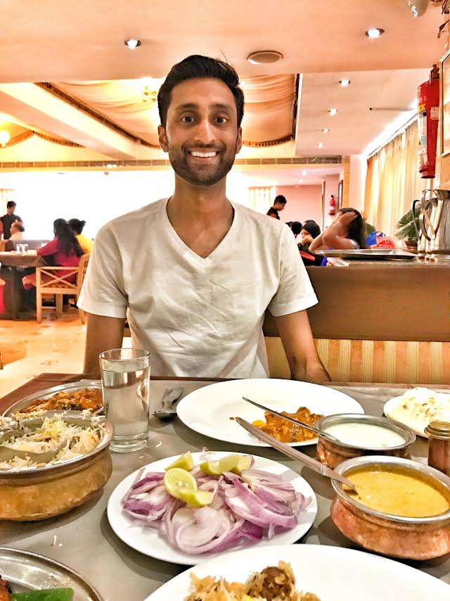 Pratik Desai enjoying his first, authentic Hyderabadi Biryani while on exchange at the Indian Institute of Management Ahmedabad.