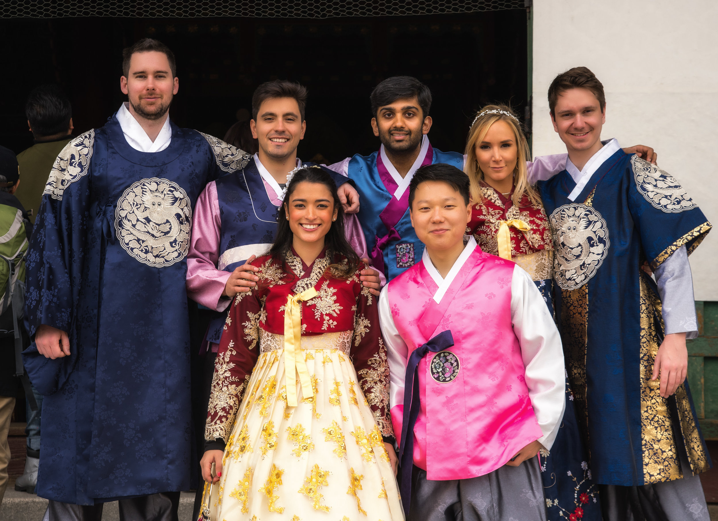 The group wearing Hanbok at the Gyeongbokgung Palace in Seoul
