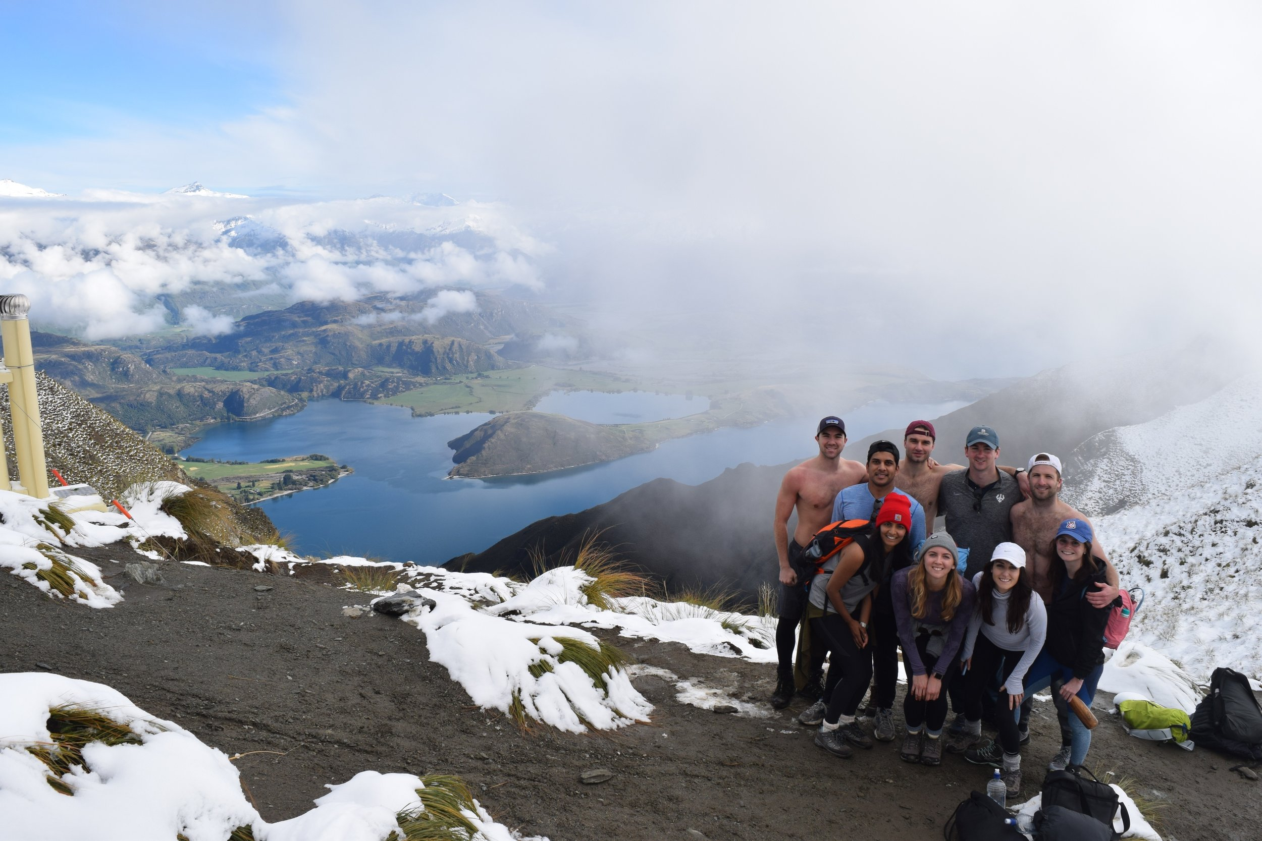The group at the top of Roys Peak in Wanaka, New Zealand