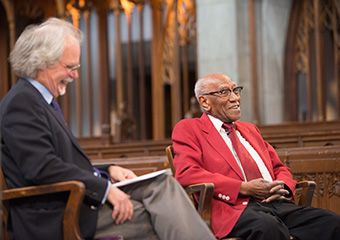 Professor Bart Schultz (left) and Dr. Timuel Black discuss Dr. King's life, legacy, and message at a Civic Engagement event on April 4th.