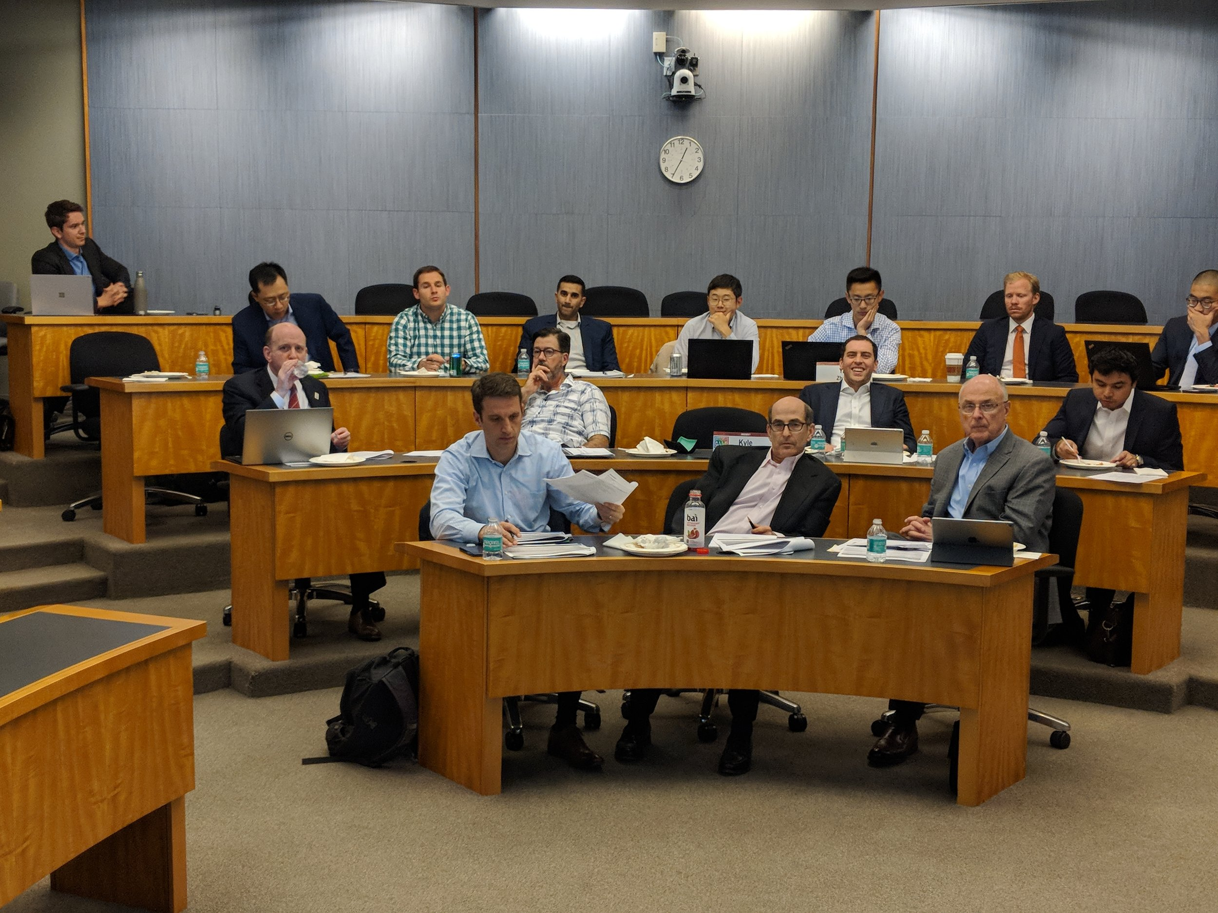 The SMIF committee during a recent board meeting. The SMIF provides students with valuable experience managing investments, balancing risk and return, and trying to prove Professor Eugene Fama wrong by outperforming the market - all with scholarship money for their fellow Boothies on the line!
