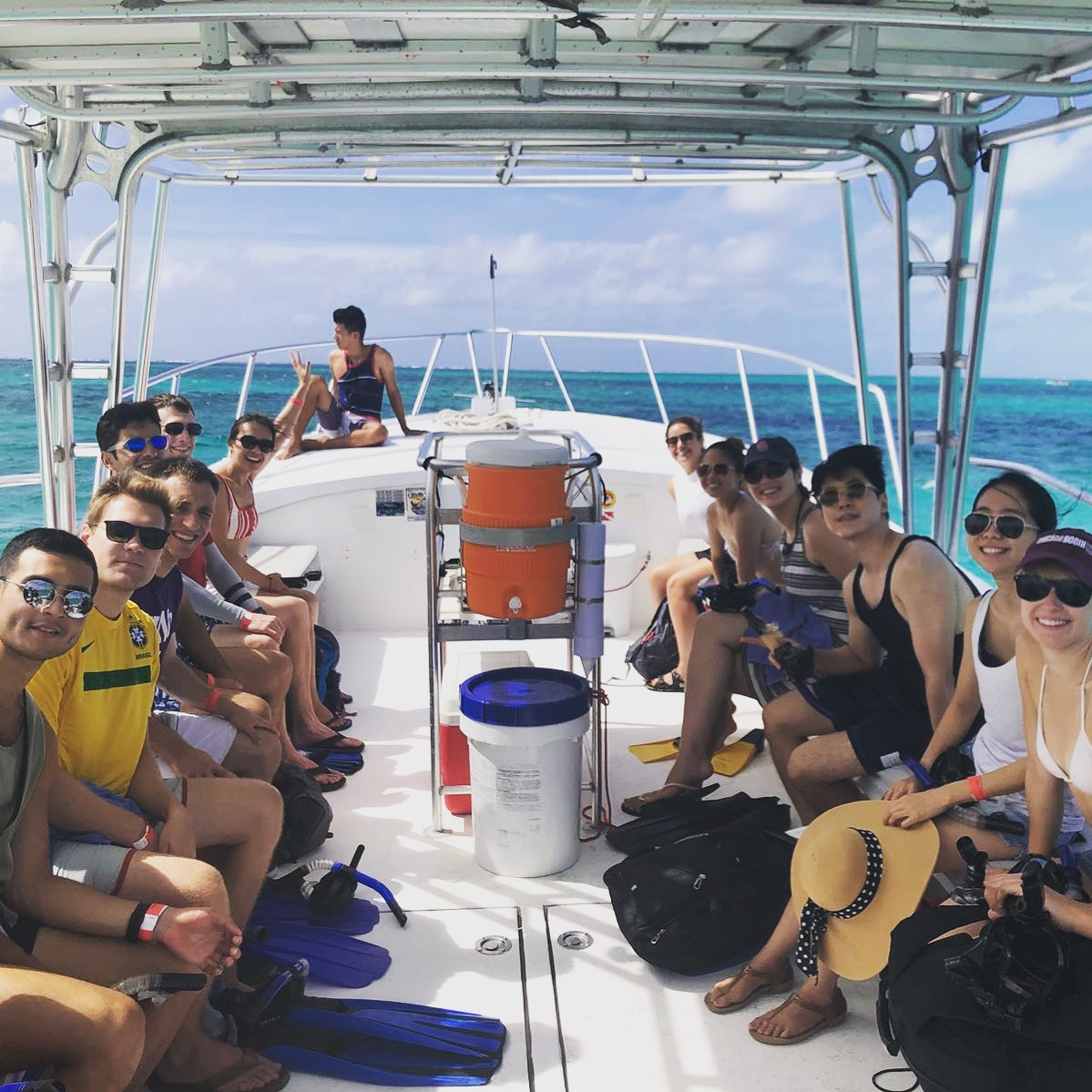 The RW Belize crew continues the grand tradition of boating, on their way to Hol Chan Marine Reserve for snorkeling