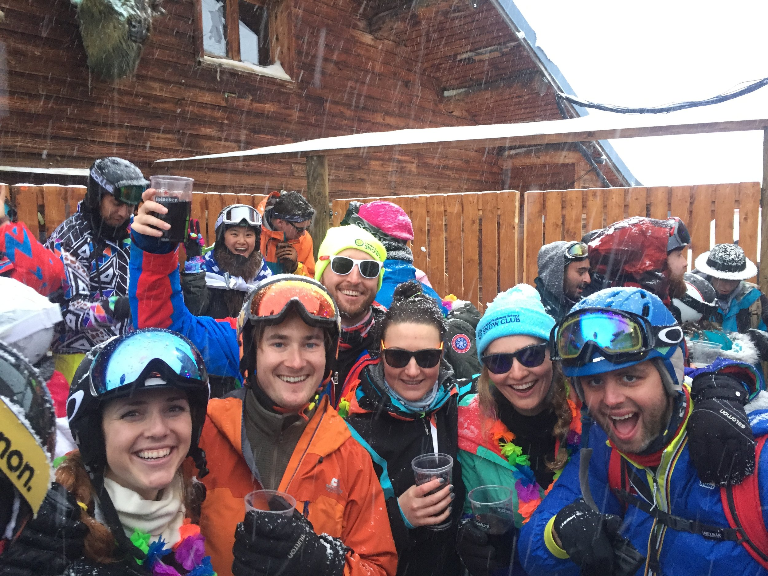 LBS MBAs on a ski trip, at the legendary apres ski 360 Bar in Val Thorens, France. From left to right, Mel Faxon, Adam Johnson, Billy Jones, Alex Devan, Harriet Stibbard and James Boyers.