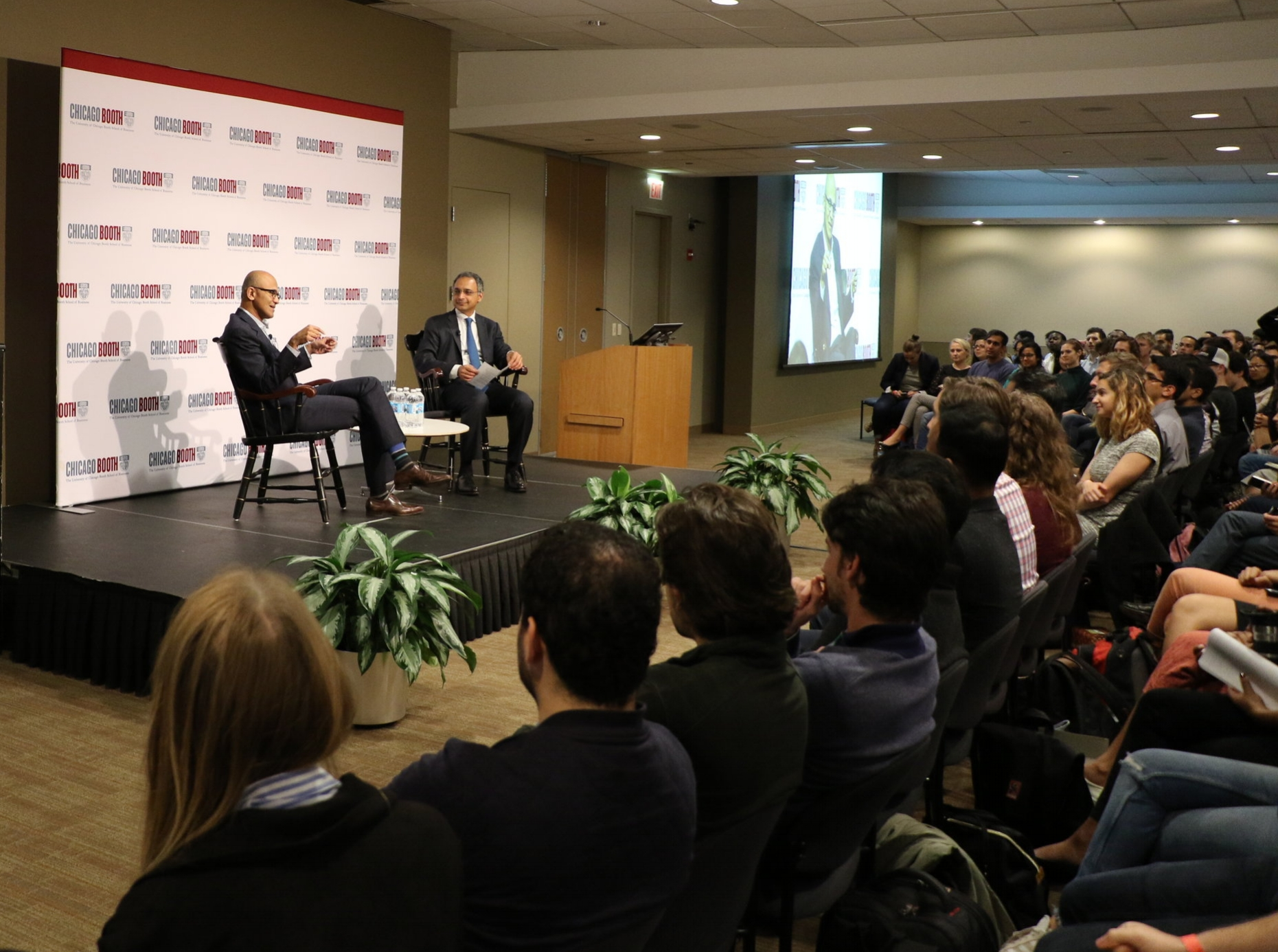 Satya Nadella, '97 and CEO of Microsoft joins Dean Rajan in a fireside chat, organized by Student Life as a part of the Distinguished Speaker Series.    Photo courtesy of: The Booth Experience Student Blog