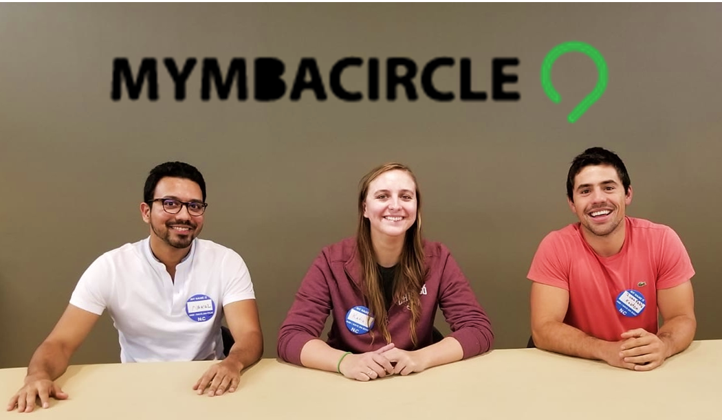 Nakul Gupta (left), Katie Orovecz (middle), and Juan Pablo Easton, the MyMBACircle team, pitch their startup at the NVC kickoff event.