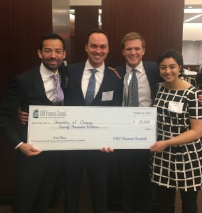 Boothies receiving their $20,000 first prize check at the inaugural CREFC case competition.