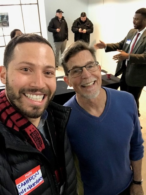 "Cameron Gould-Saltman. MBA '19 and James Beard Award-winning chef Rick Bayless, who has decided to HQ his ""Culinary Core Institute"" for at-risk youth at The Hatchery Chicago"