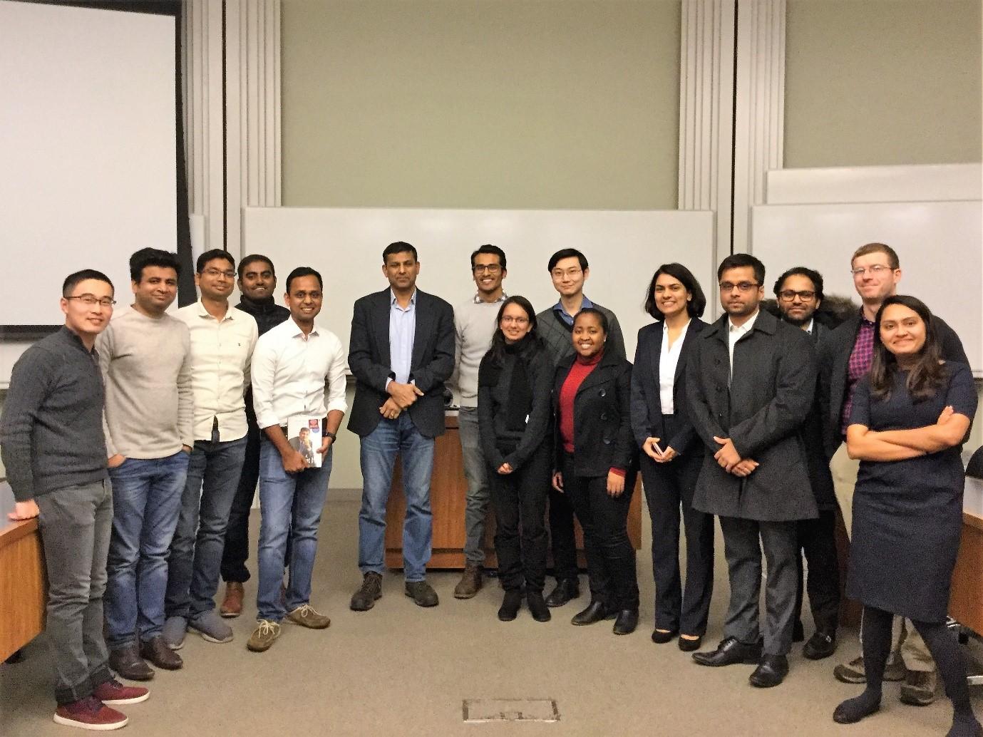 Booth students with Dr. Raghuram Rajan at Harper on November 27, 2018