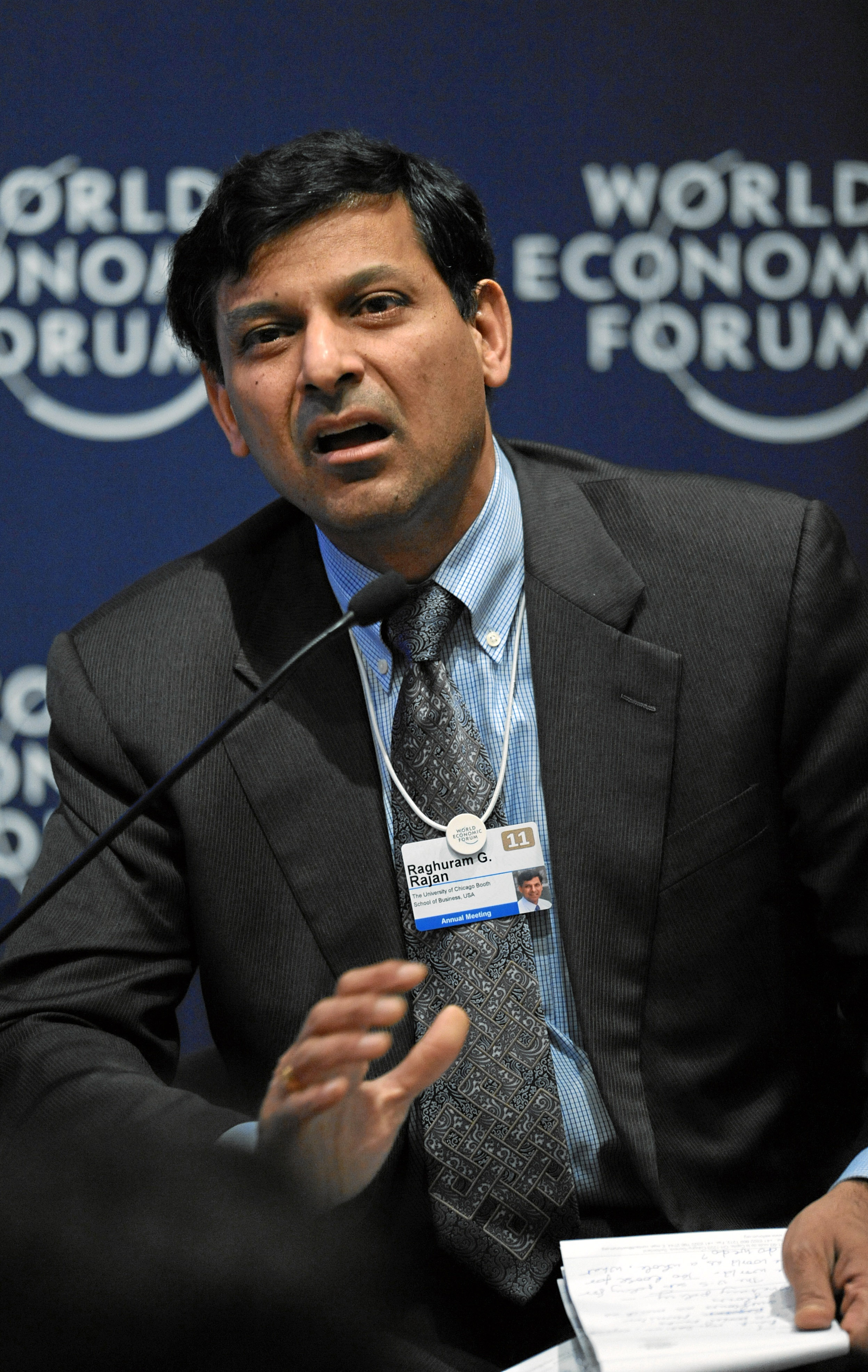 Dr. Raghuram Rajan speaking at the World Economic Forum. Dr. Rajan first joined Booth in 1991, and prior to returning in 2016 was the Governor of the Reserve Bank of India