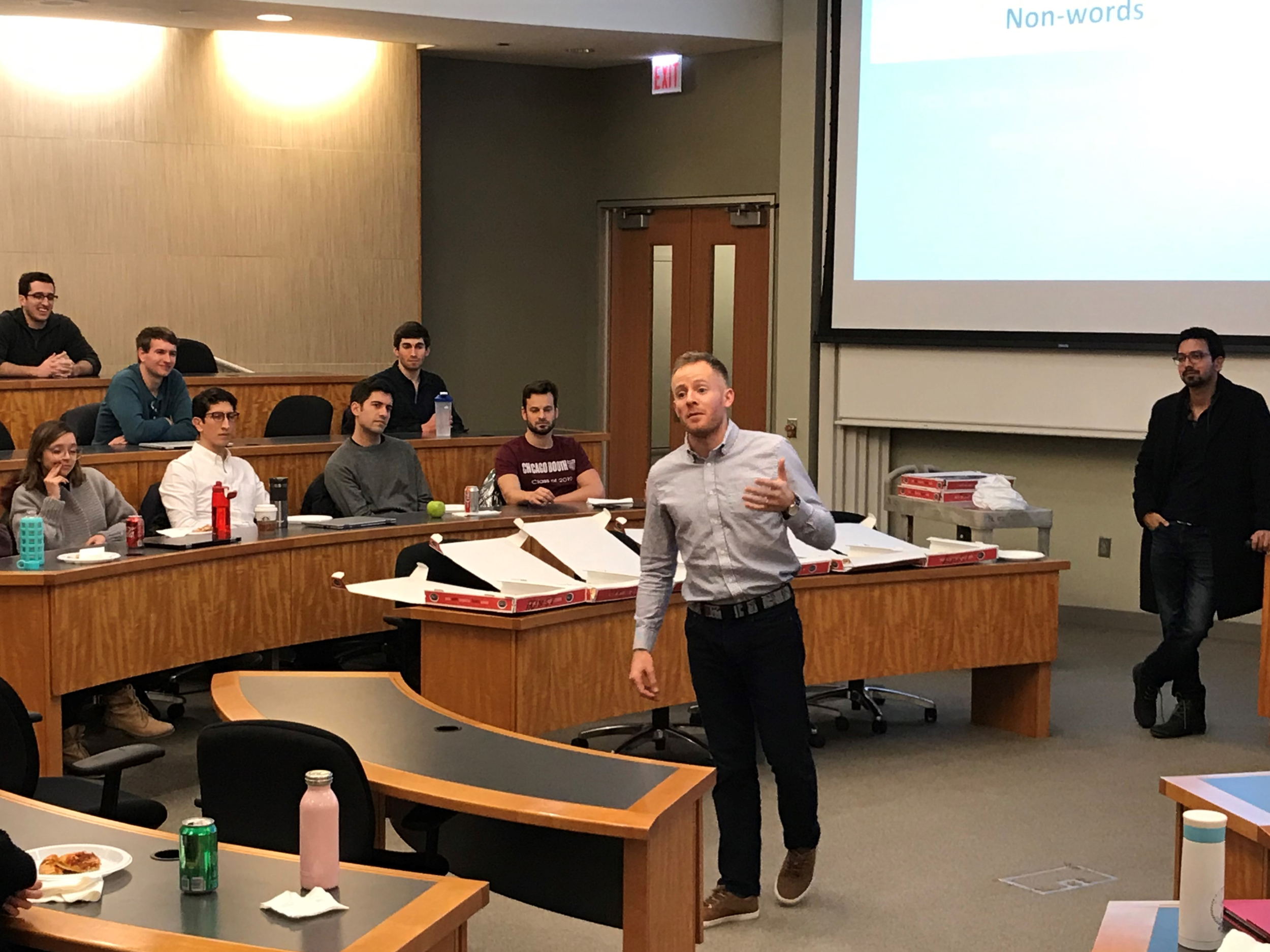 Thomas Egbert ('19) practices speaking without using filler words