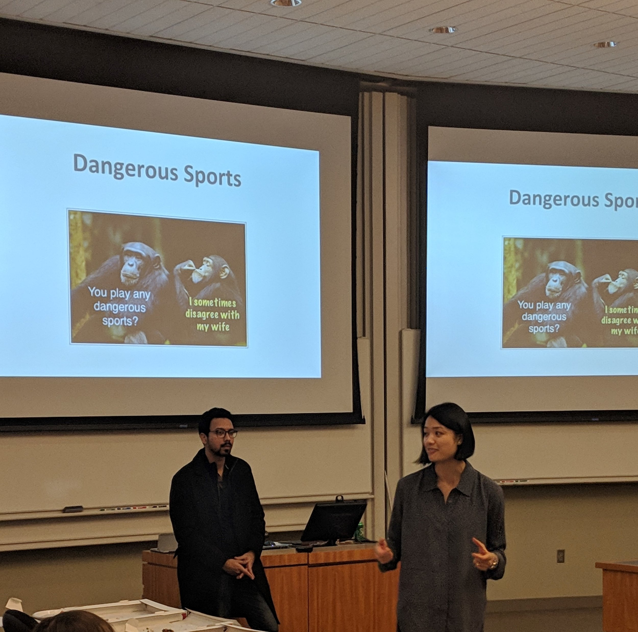 Nakul and Christina, PSCG co-chairs, demonstrate how to use pauses effectively
