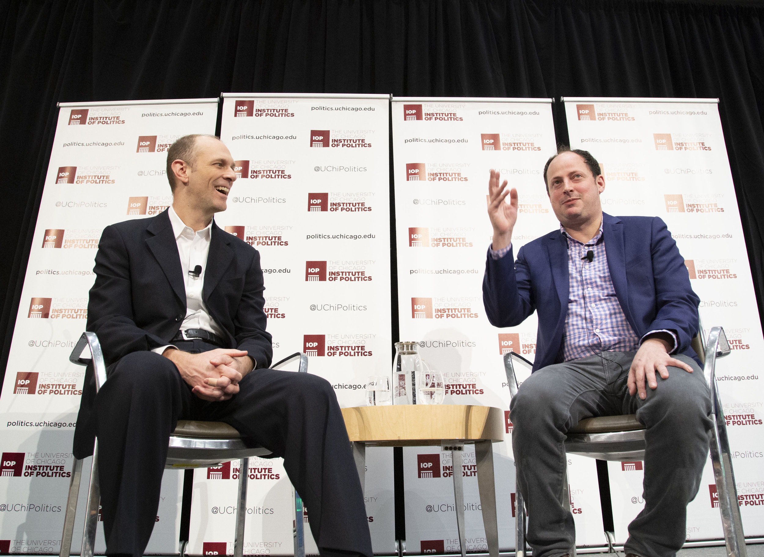 Credit Zane Miller/Institute of Politics. Austan Goolsbee (left) and Nate Silver (AB '00) discuss what happened in 2016 and 2018 as a set-up for analyzing the 2020 presidential race