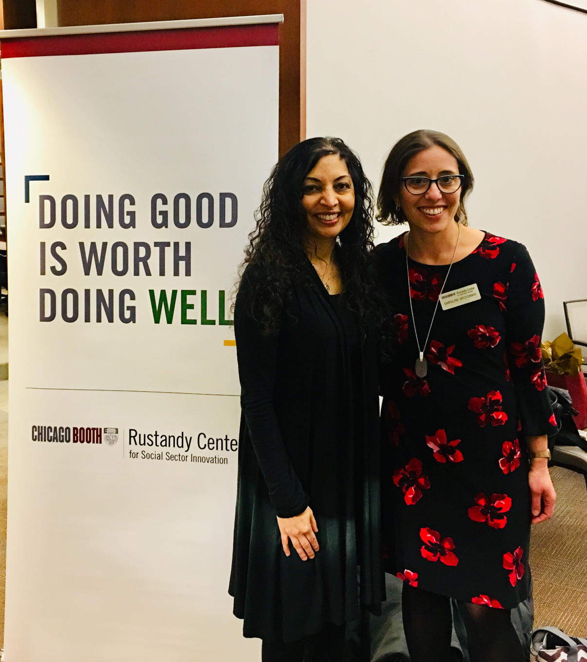 Keynote speaker Monali Shah reunites with Caroline Grossman, faculty at Rustandy Center. After founding Net Impact at Booth, Monali passed the reins on to Caroline