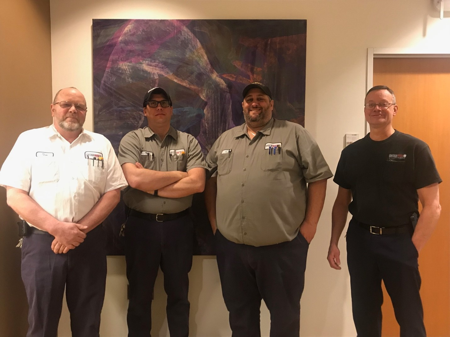 From left to right: Tim Hinko, Tom Wright, Joe Alesia, and Marty Stauffer are the building engineers who keep Harper Center running smoothly