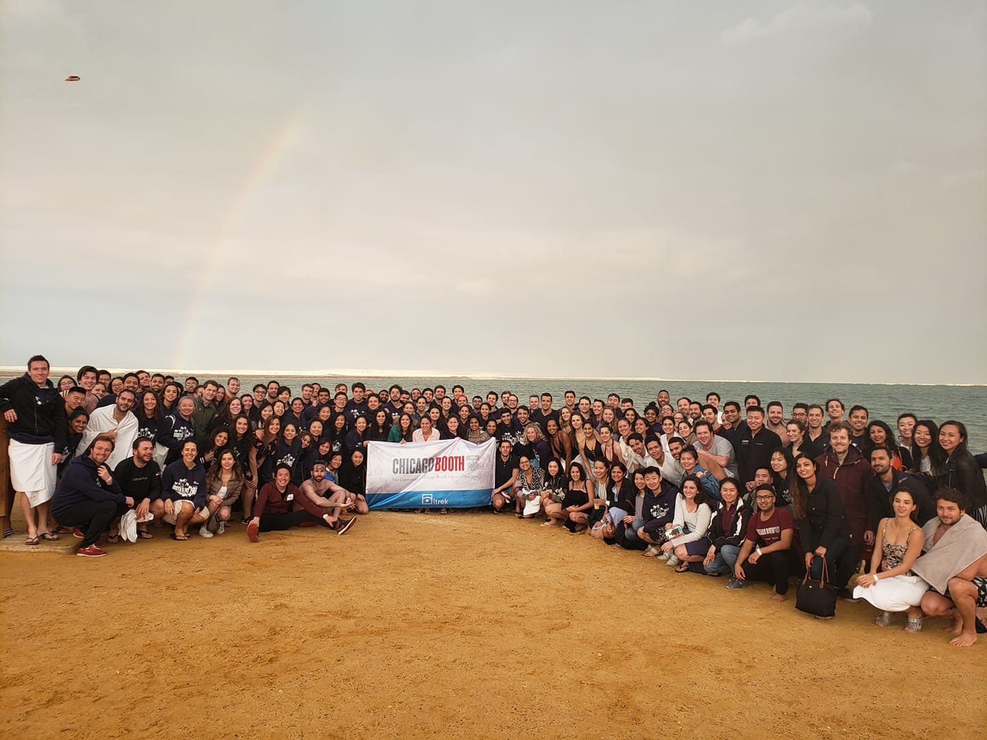 A rainbow completes the perfect Boothright photo in front of the Dead Sea