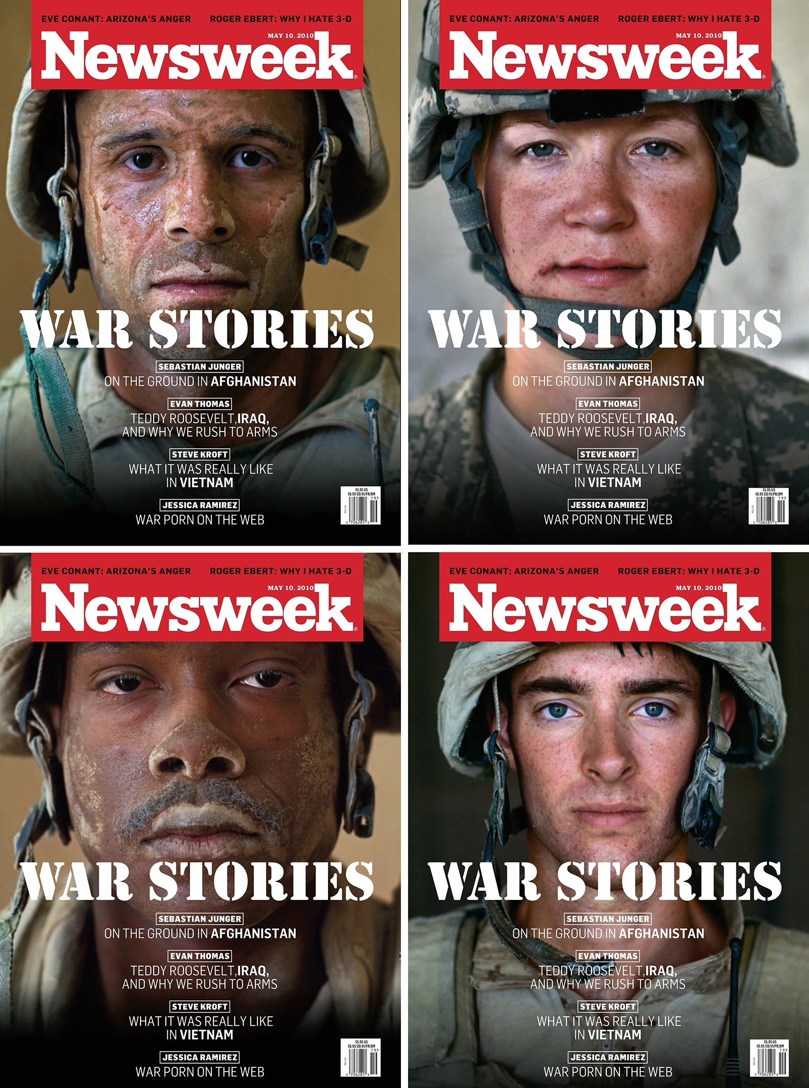 The four covers of the May 10, 2010 issue of  Newsweek