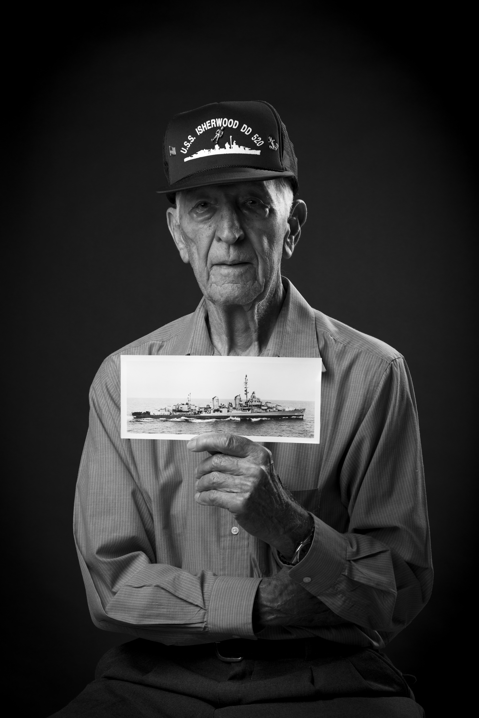 John B. Moniz was an Electrician's Mate 1st Class in the Navy during WWII and served aboard the USS Isherwood DD520 from 1943-1945 both in the Atlantic and Pacific Fleet. He's also a kamikaze survivor. 2013 © Stacy L. Pearsall