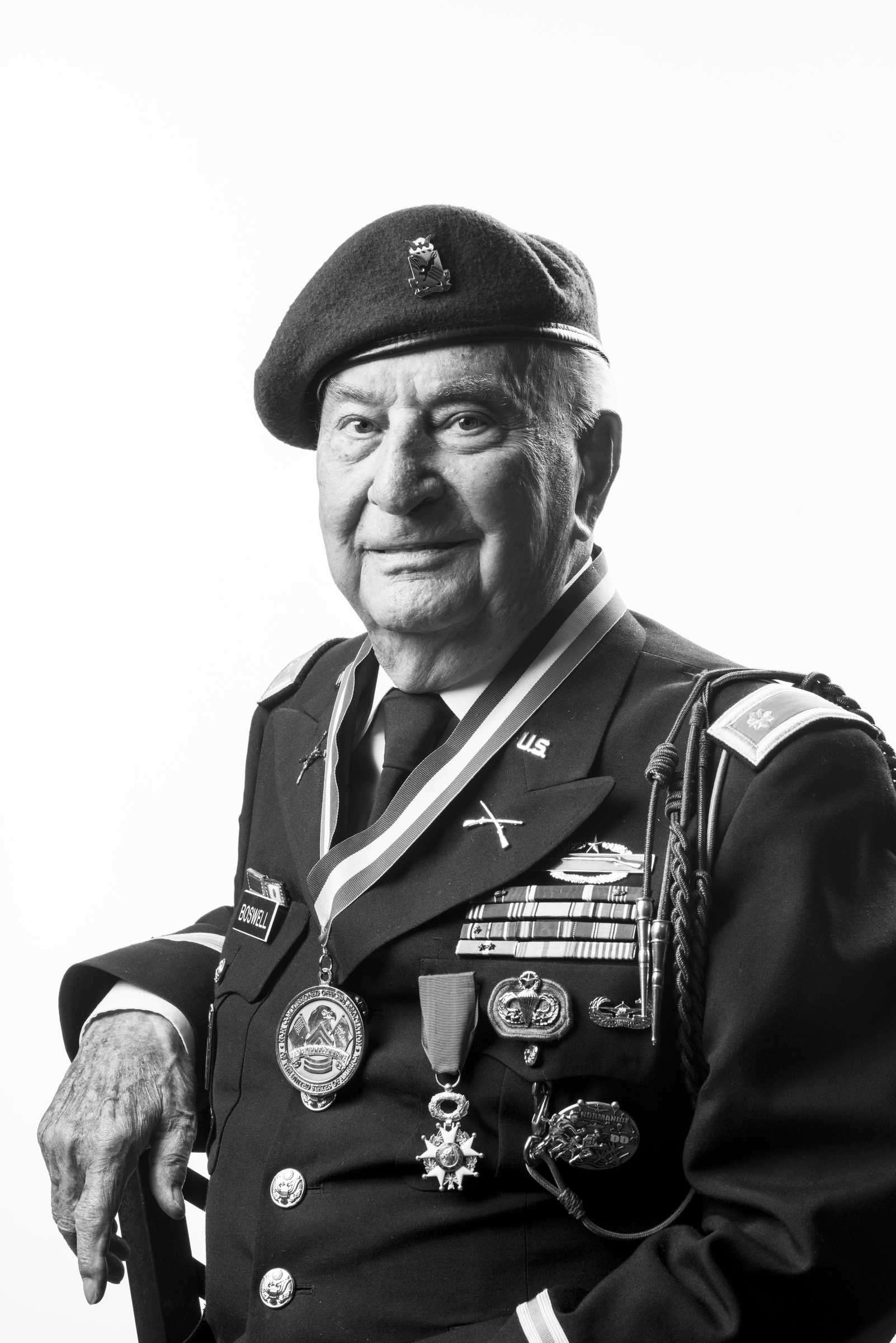 "Henry Boswell is a WWII and Korean War veteran. He successfully completed combat jumps into Sicily, Italy, Normandy and Holland. For his heroism, he received the French Legion of Honor. During the Korean War, he was struck by a mortar round. When he came to, the doctor in the hospital stated, ""You're the only soldier with a wound to all FIVE appendages!""  Heary Boswell served as an Army commo sergeant, and later as an officer, from June 1940 to June 1963. 2014 © Stacy L. Pearsall"