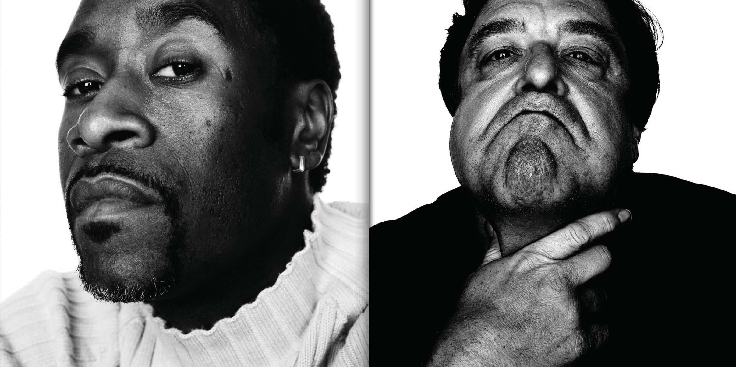 "Left: Don Cheadle, actor, photographed in Los Angeles, October 2002. Right: John Goodman, actor, photographed in New York City, March 2008. One of the spreads found in his latest book: ""SCHATZ Images: 25 Years,"" published by Glitterati.  © Howard Schatz and Beverly Ornstein"