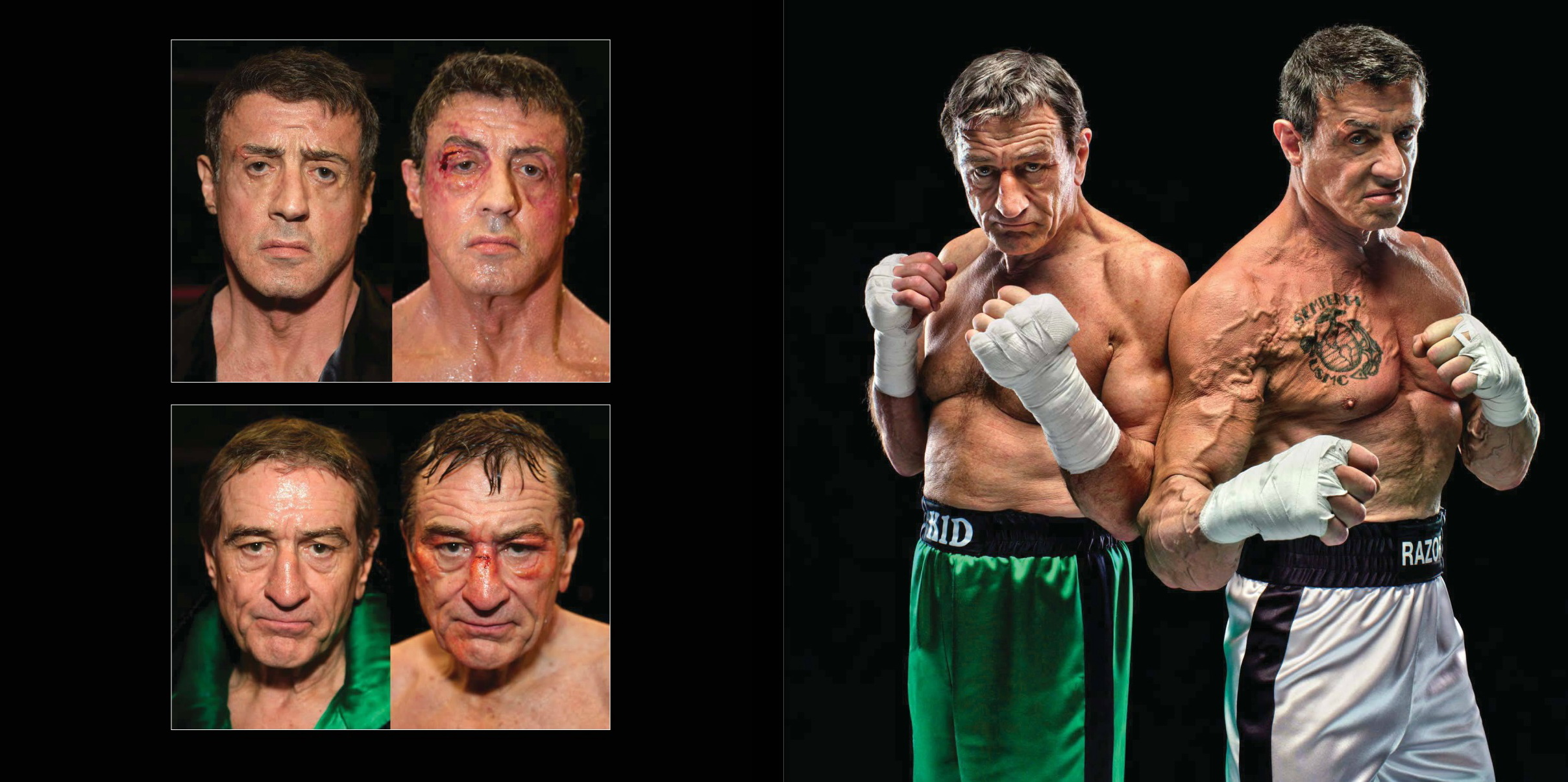 "Left: Robert De Niro and Sylvester Stallone, photographed for Sports Illustrated on the set of the Warner Bros. film Grudge Match, New Orleans, February 2013. These ""before and after"" images are all about the makeup. Right: Robert De Niro and Sylvester Stallone, photographed for Sports Illustrated on the set of the Warner Bros. film Grudge Match, New Orleans, February 2013.  © Howard Schatz and Beverly Ornstein"