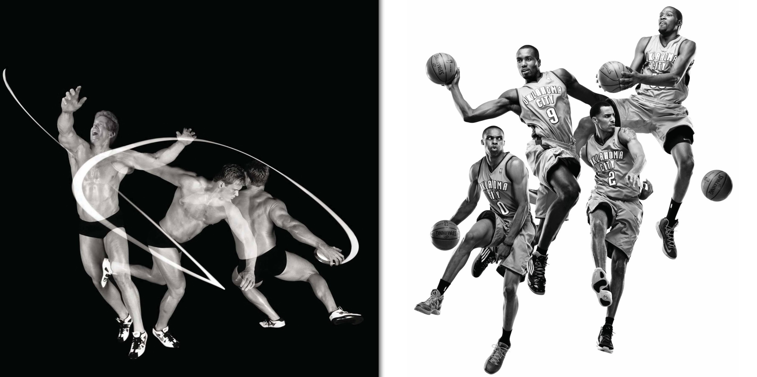 Left: Adam Setliff, US Olympic discus thrower, photographed in Los Angeles, February 2001. This is the path the discus takes before release. Right: Oklahoma Thunder NBA team members: Russell Westbrook, Serge Ibaka, Thabo Sefolosha, Kevin Durant, photographed for the cover of the New York Times Sunday Magazine in Oklahoma City, OK, October 2012. These four images were collaged into one.  © Howard Schatz and Beverly Ornstein