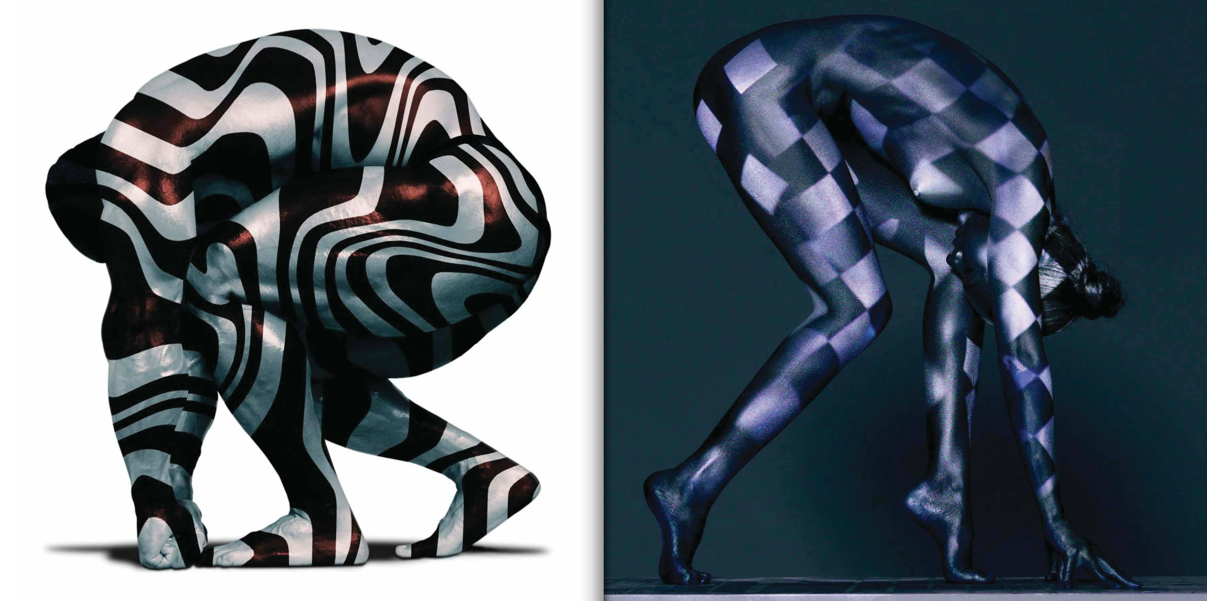 Left: King Kamali #7, bodybuilder, photographed in New York City, January 2001. Right: Beauty Study #1353, Melissa, photographed in New York City, April 2013.  © Howard Schatz and Beverly Ornstein