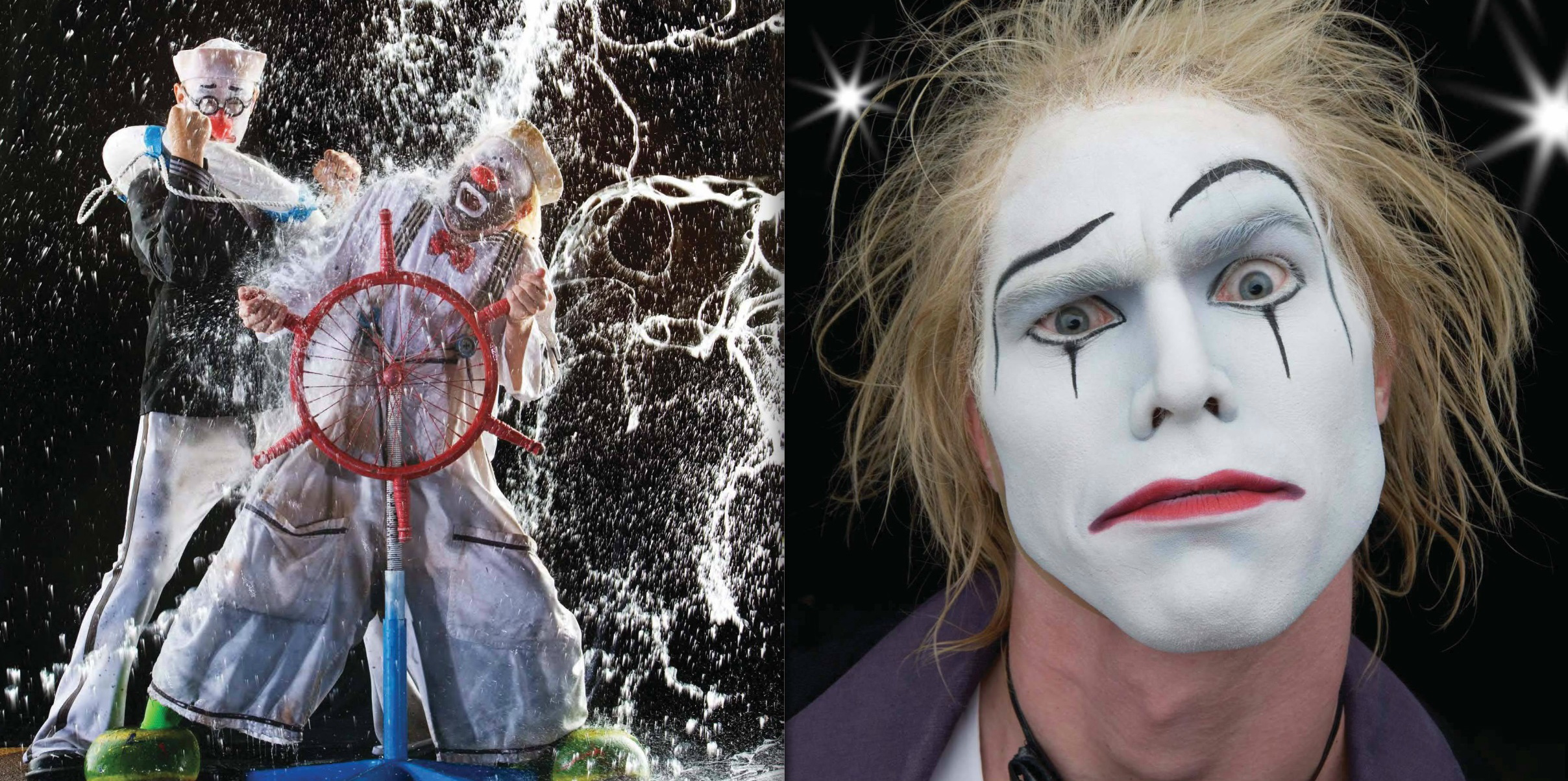 Left: Cirque du Soleil O #93, The Clowns, Leonid Leykin and Valery Keft, photographed in Las Vegas, May 2005. Right: Cirque du Soleil O, #140, Le Vieux, Benedikt Negro, photographed in Las Vegas, May 2005.  © Howard Schatz and Beverly Ornstein