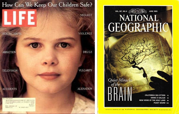 Newsstand buddies; simultaneous covers of LIFE and National Geographic July 1995 © Joe McNally