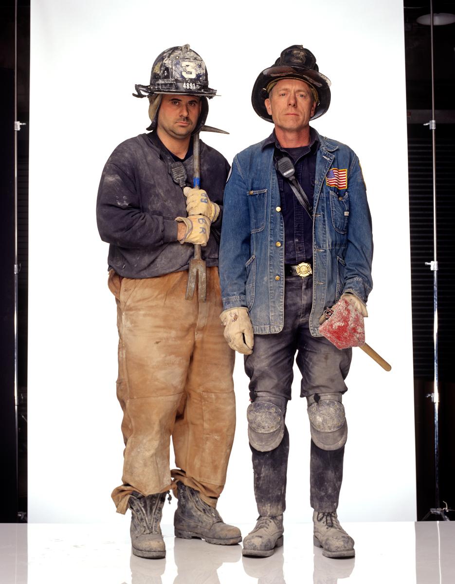 Faces of Ground Zero; Firemen Bill Ryan and Mike Morrisey 2001 © Joe McNally