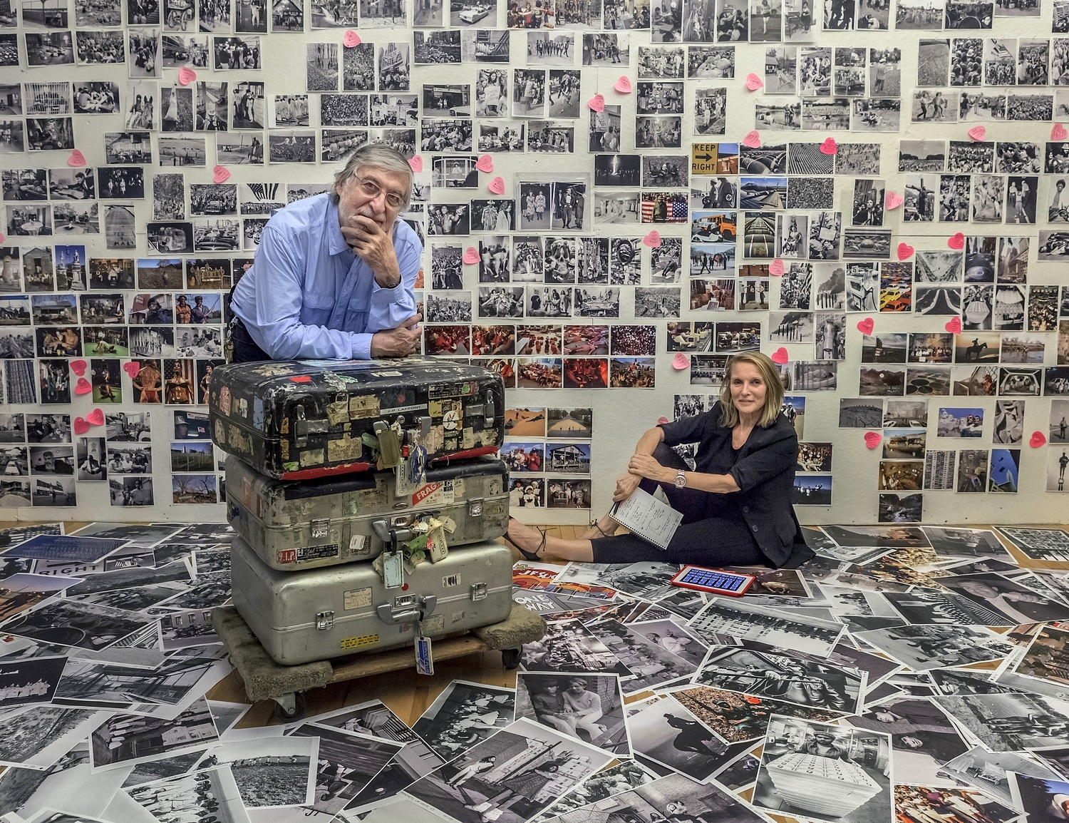"Jean-Pierre and Eliane Laffont putting together ""Photographer's Paradise."" © Sam Matamoros."