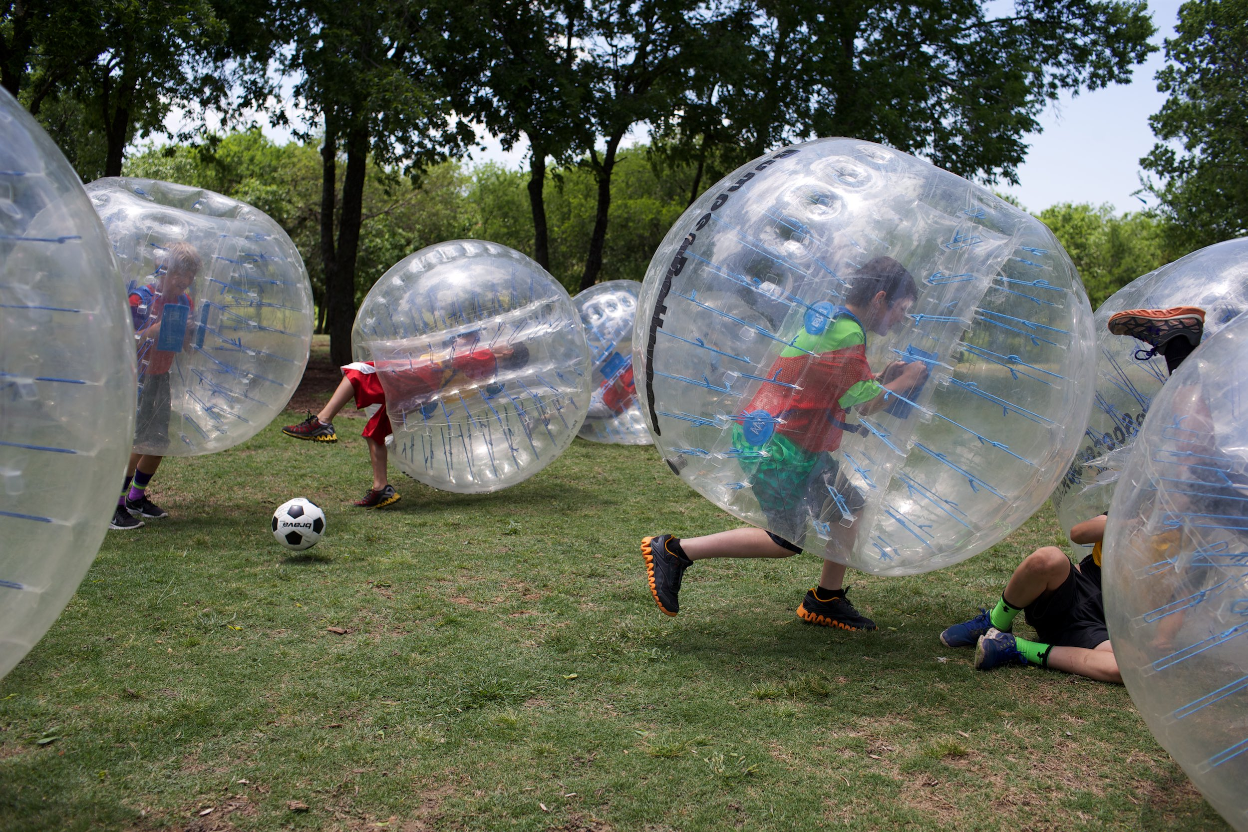 Thanks to the creation of bubble soccer, this is how much fun a 10-year-old's birthday party can be. © Sol Neelman