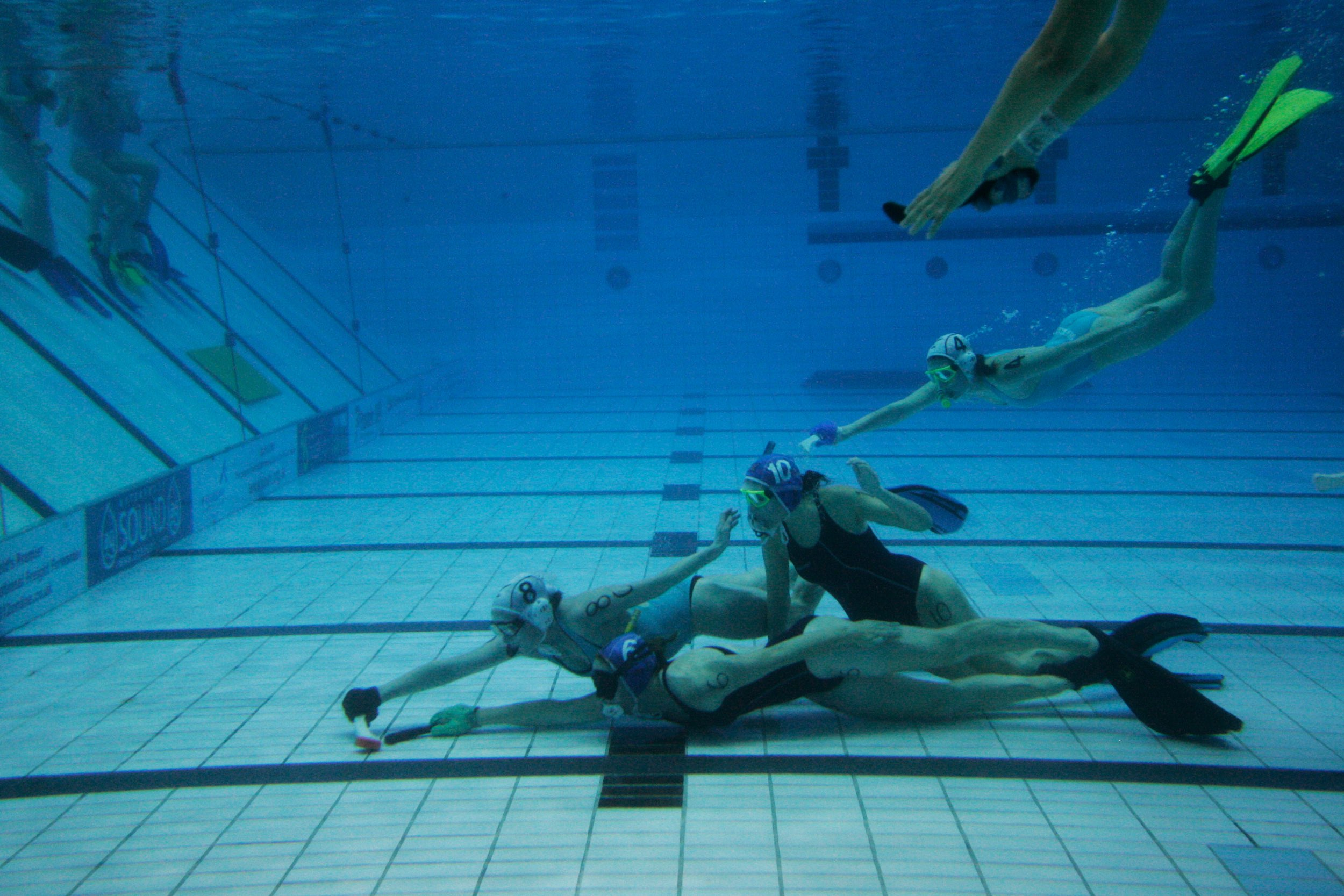 """Originally called """"octopush,"""" underwater hockey was invented back in 1954 by four English divers looking to stay fit during the winter months, when it was too cold to dive the North Sea.© Sol Neelman"""