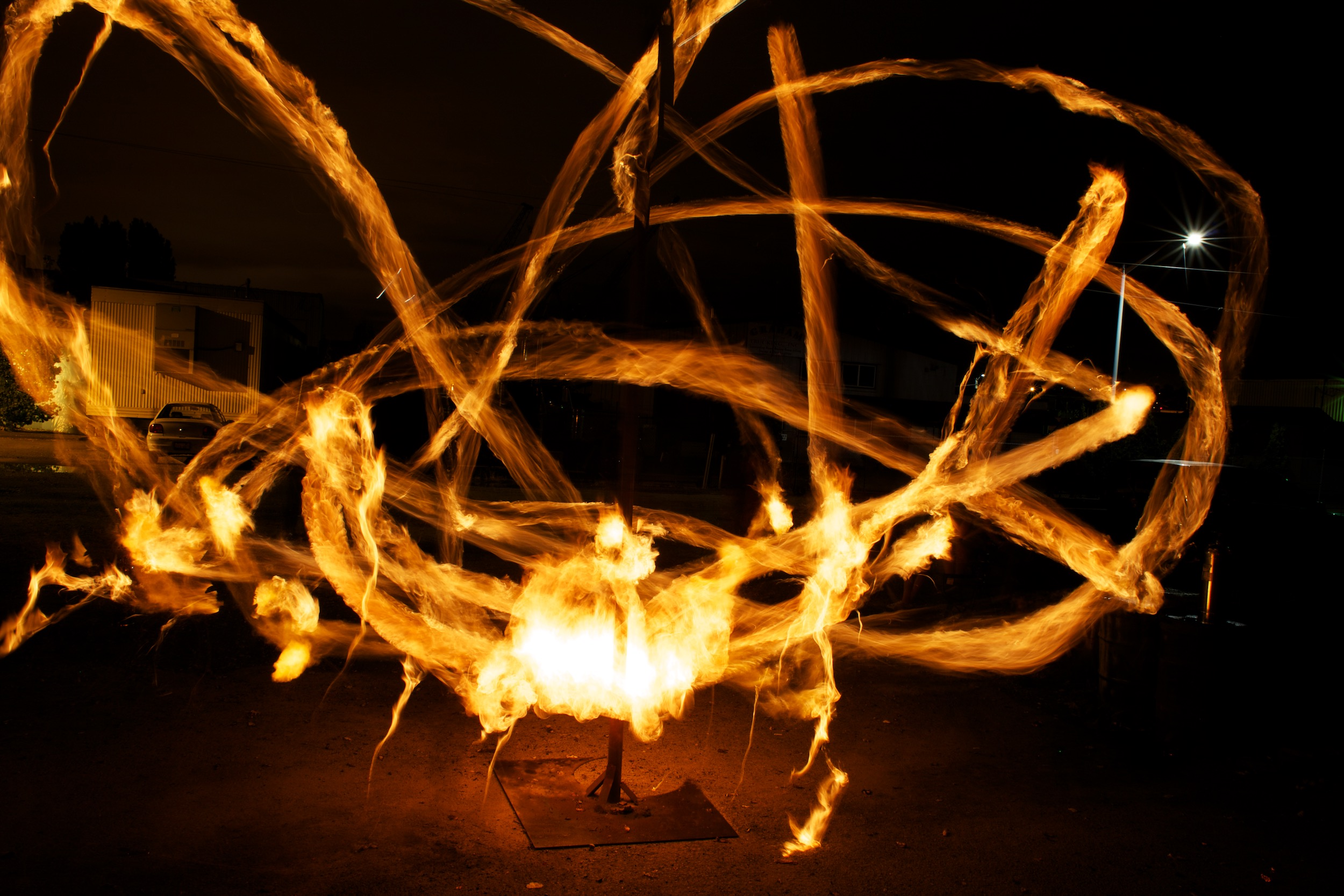 """The """"ball""""in flaming tetherball is a roll of toilet paper soaked in 3 ounces of white gas, the stuff that people use in camp stoves and lanterns. It burns nice and bright, but without the obvious drawbacks of gasoline.© Sol Neelman"""