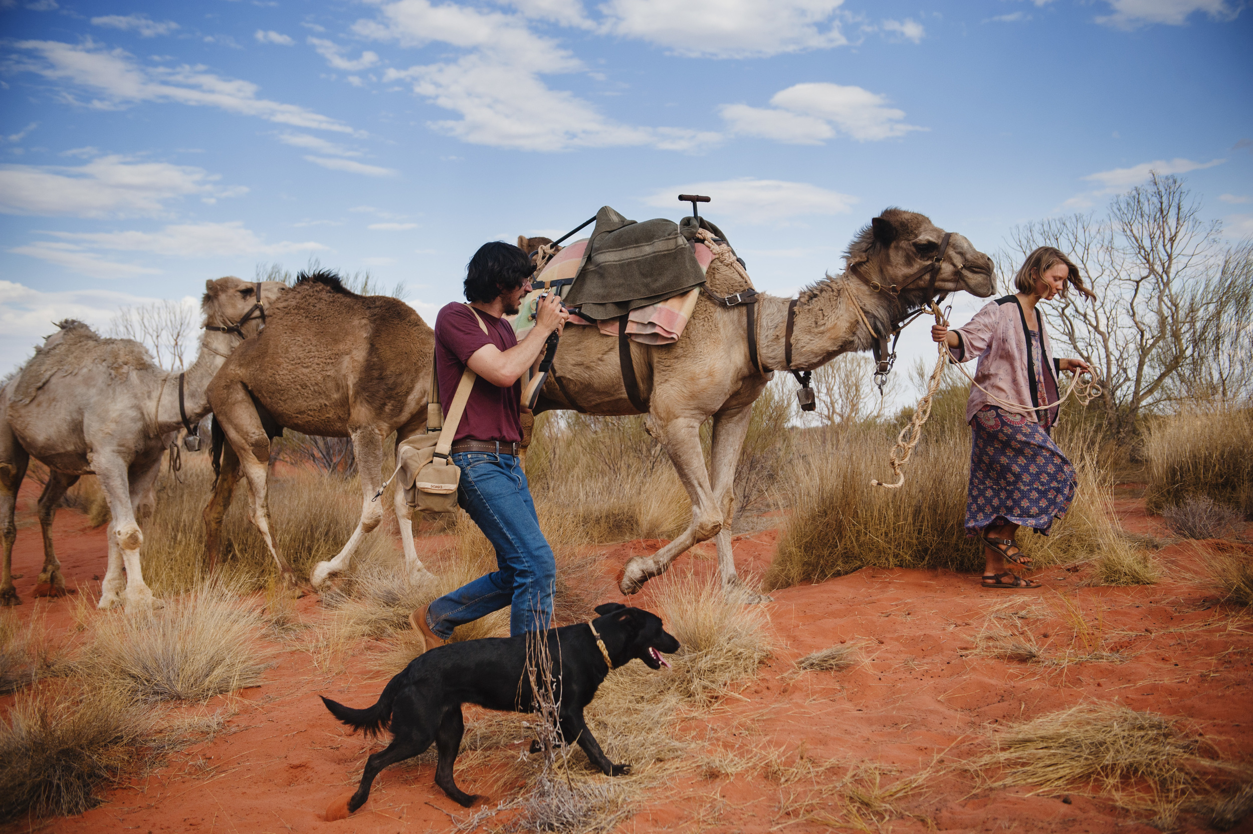 Rick (Adam Driver) shoots Robyn (Mia Wasikowska) at Ayers Rock.   ©   Matt Nettheim/See-Saw Films