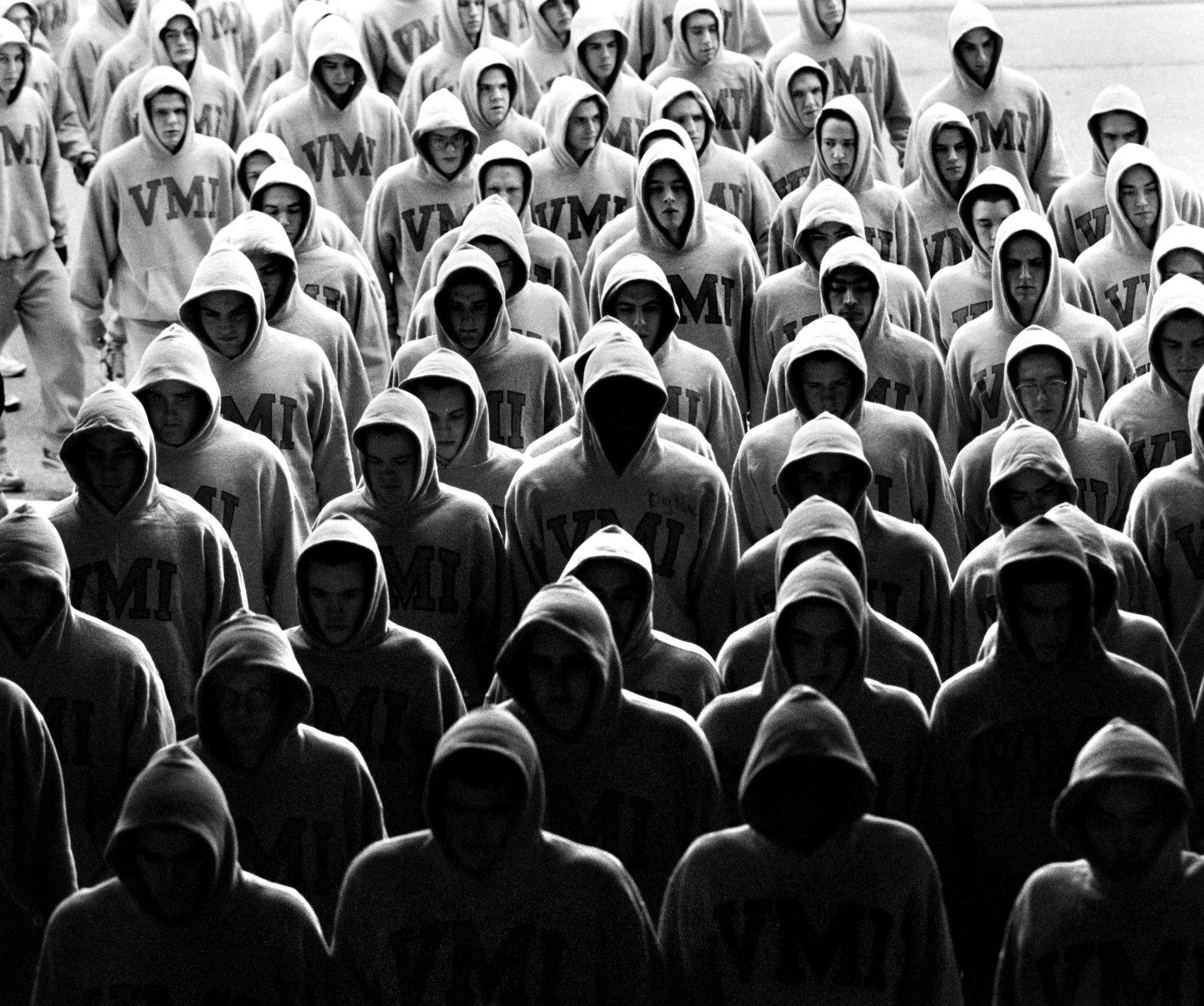 The (then) all male student body at Virginia Military Institute. © Nancy Andrews/The Washington Post