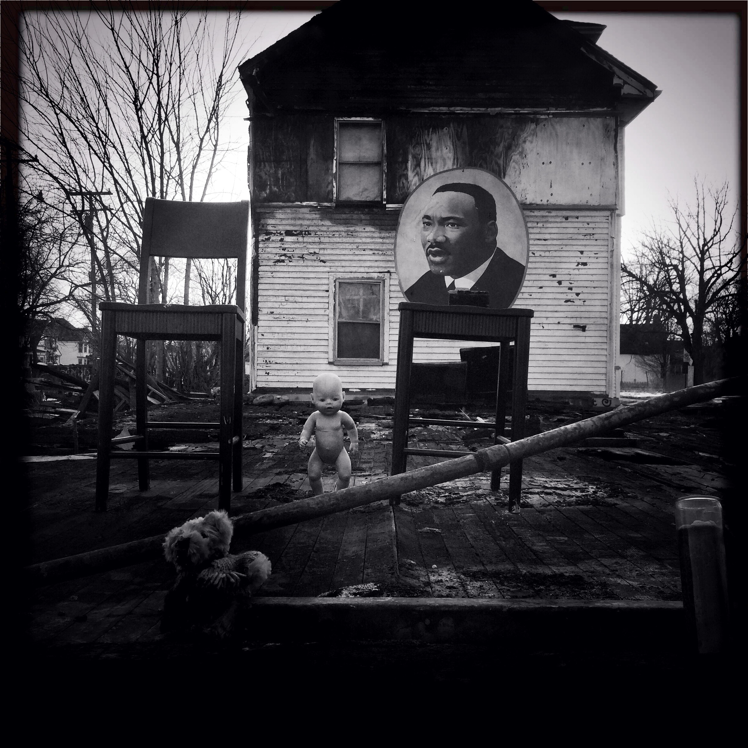 The scene at The Heidelberg Project, an art installation by Tyree Guyton, several of the buildings he has decorated have been burned down by an arsonist.© Nancy Andrews