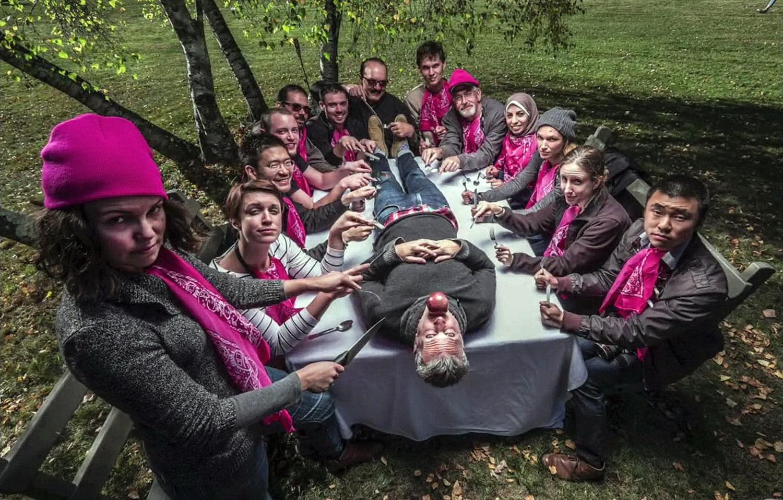 The Pink Team at the Eddie Adams Workshop .  Photo: Courtesy of the Eddie Adams Workshop