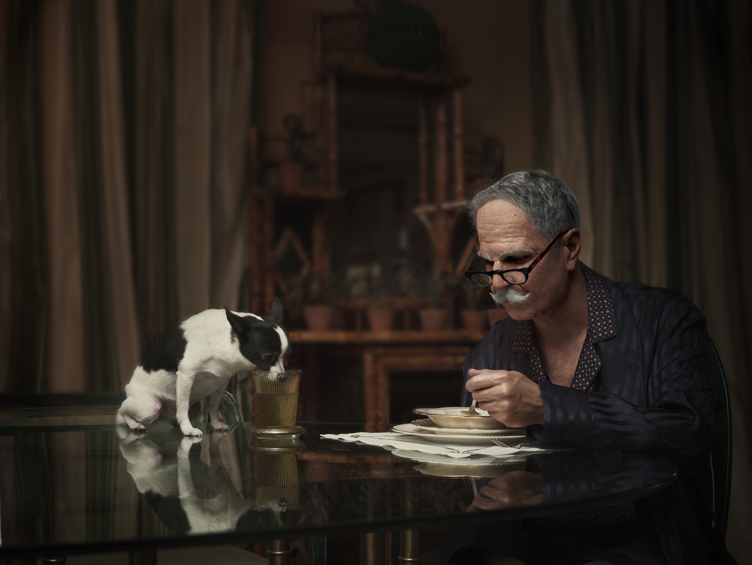 """From """"Maybe"""" which became the documentary   """"The Many Sad Fates of Mr. Toledano."""" Old Phil with dog. © Phillip Toledano"""
