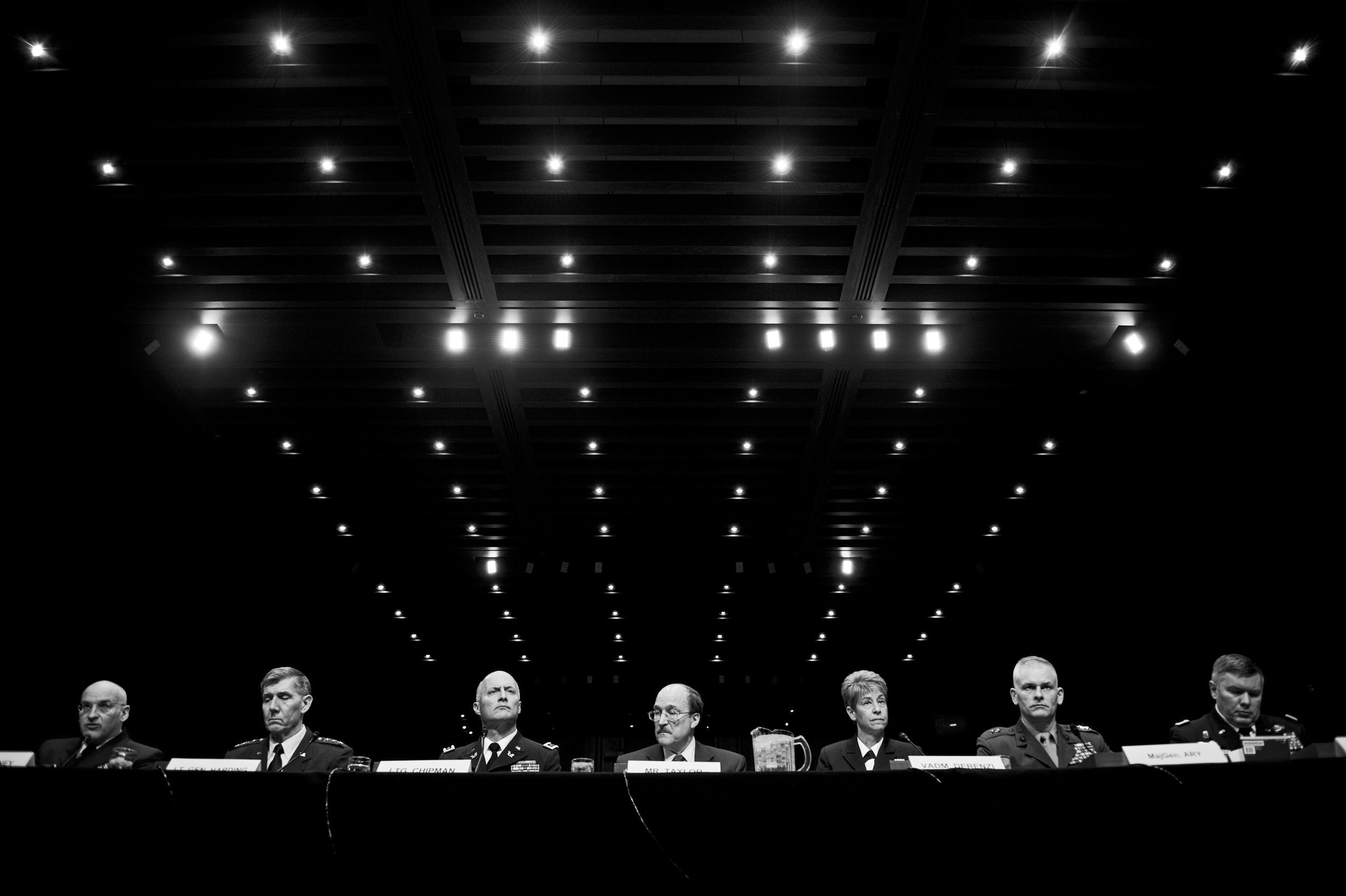 The War Within: Military lawyers from the US Air Force, Army, Navy, Marines and Coast Guard testify during a Senate Armed Services Committee hearing on Capitol Hill. The hearing was held to discuss sexual assaults in the US Armed Forces.  © Mary F. Calvert/ ZUMAPRESS.com