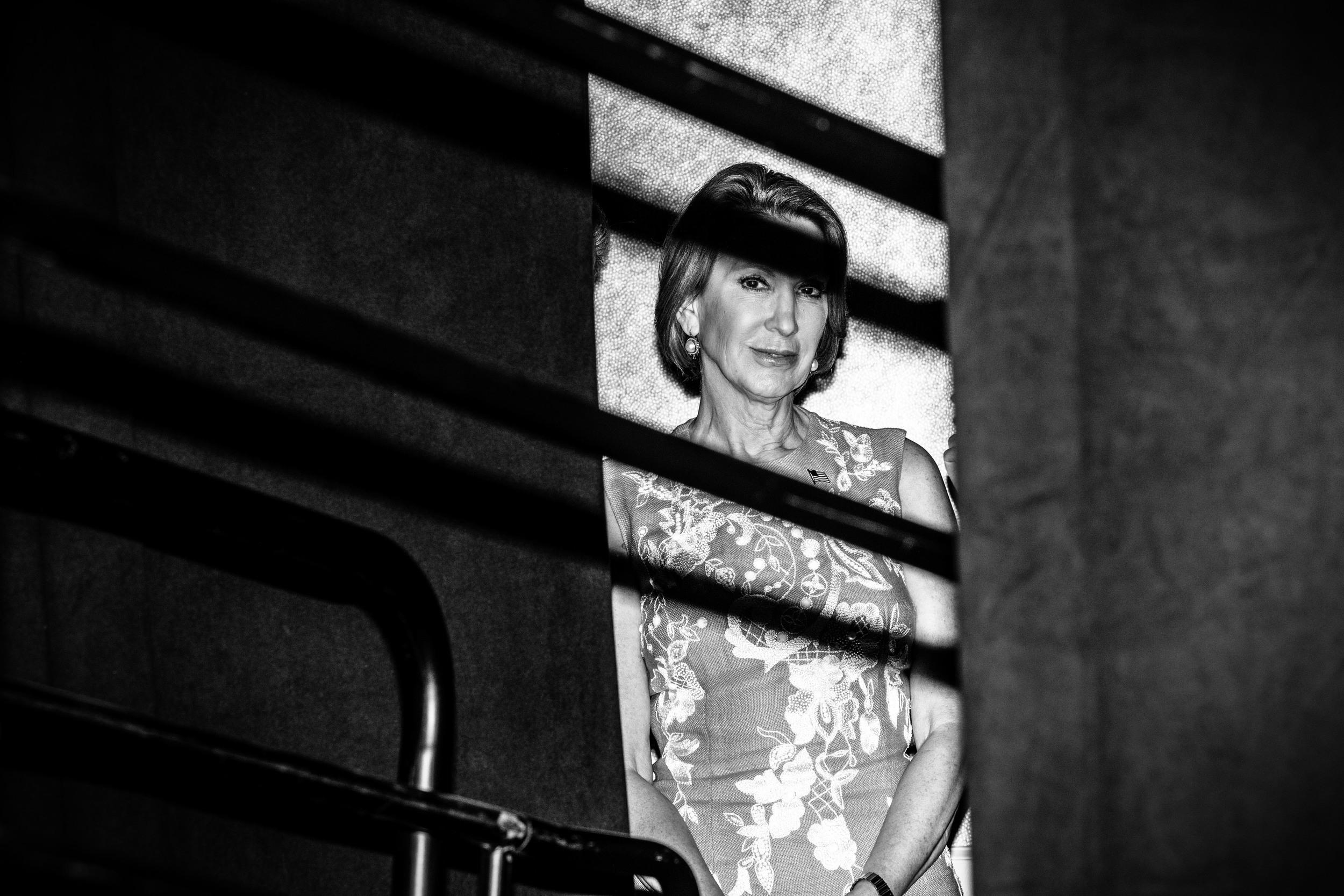 Politics in Black & White:     Carly Fiorina waits to speak in Atlanta. © Mark Peterson/   ReduxPictures
