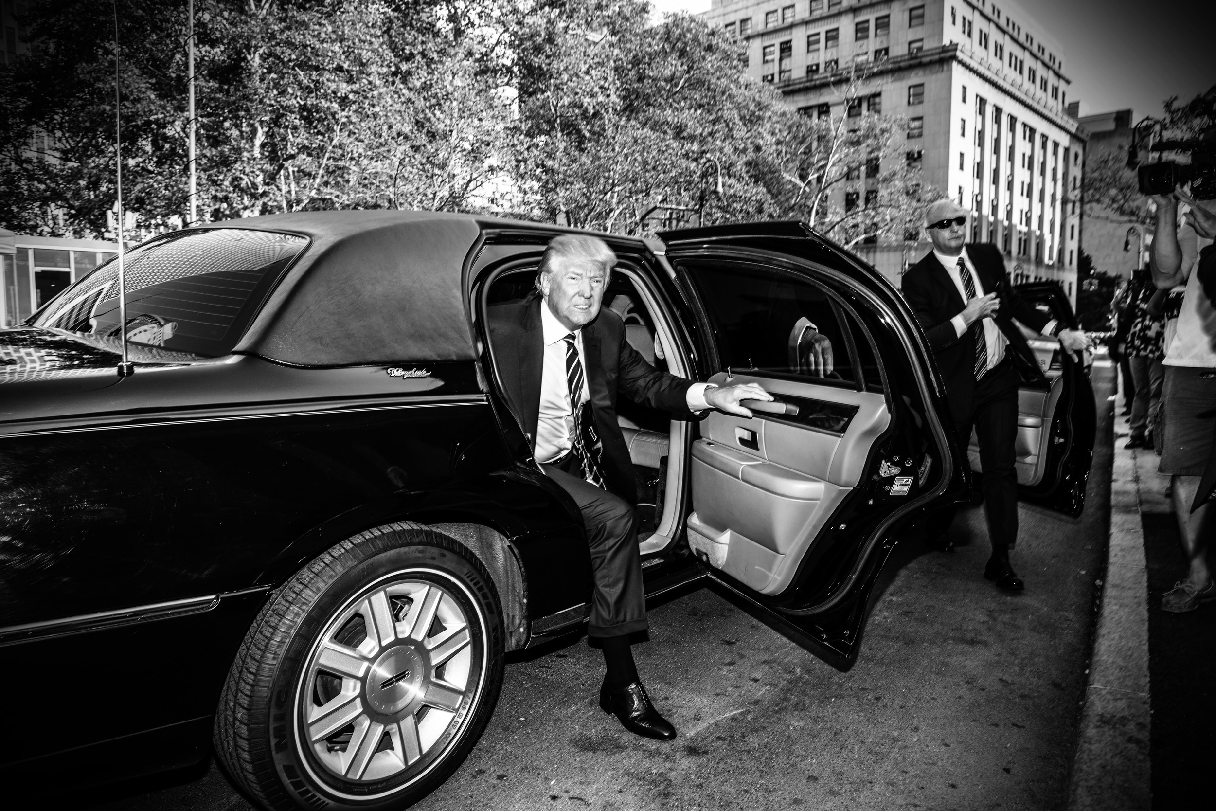 Politics in Black & White:    Donald Trump arrives for jury duty. © Mark Peterson/   ReduxPictures