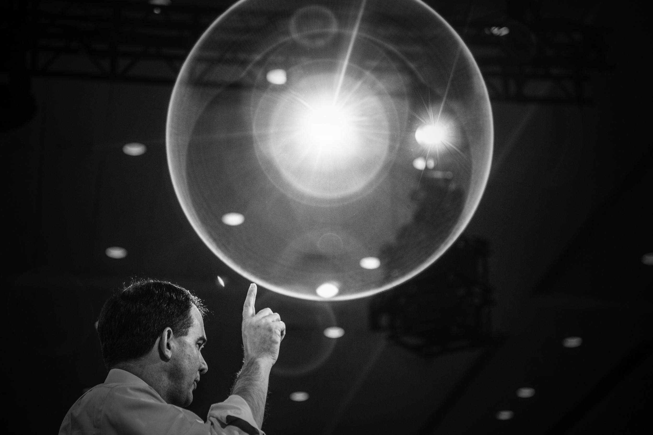 Politics in Black & White:    Scott Walker hoping his bubble doesn't burst in Maryland. © Mark Peterson/   ReduxPictures