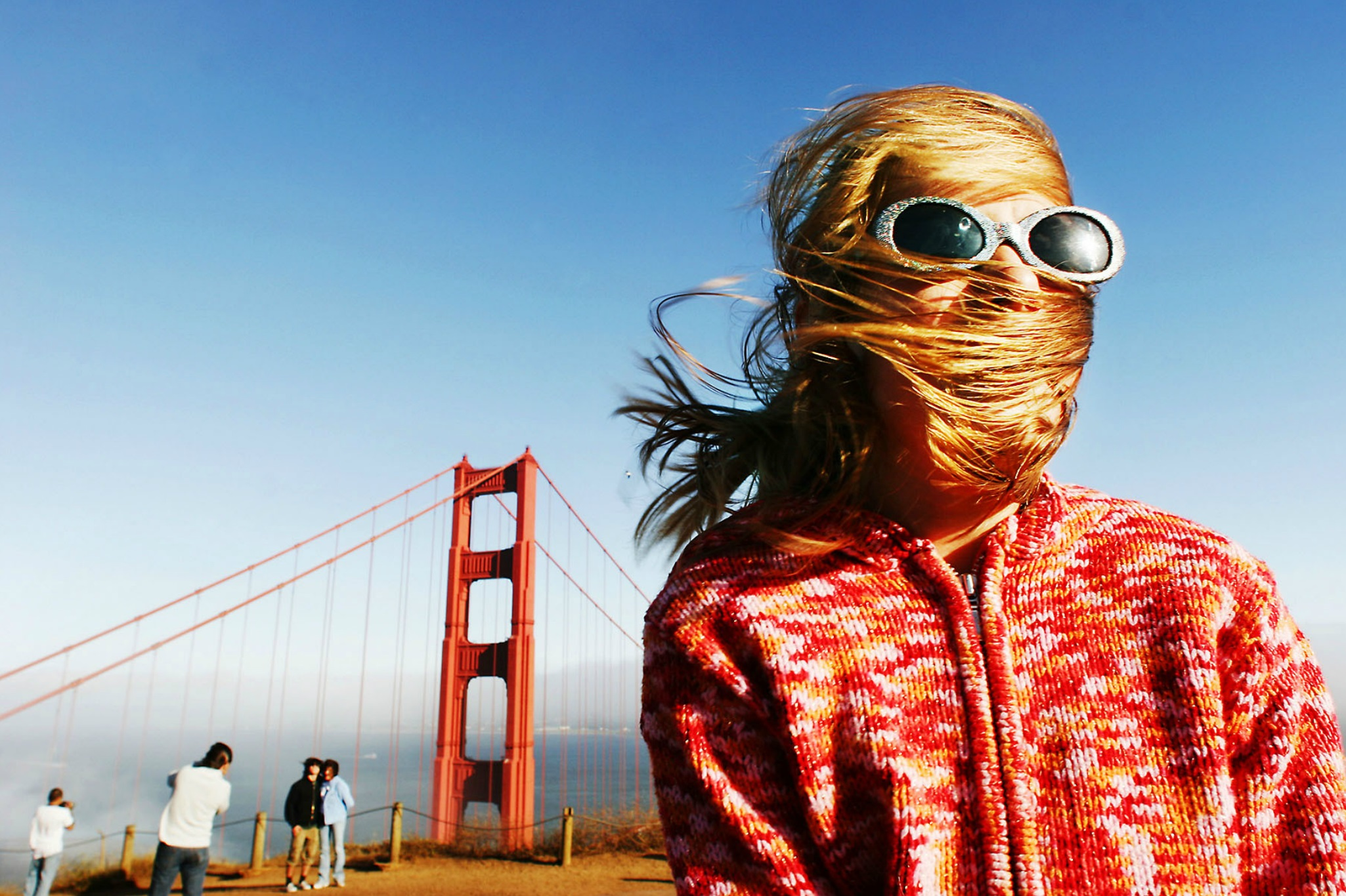 Rose on a windy day at the Golden Gate Bridge. © Mark Peterson/   ReduxPictures