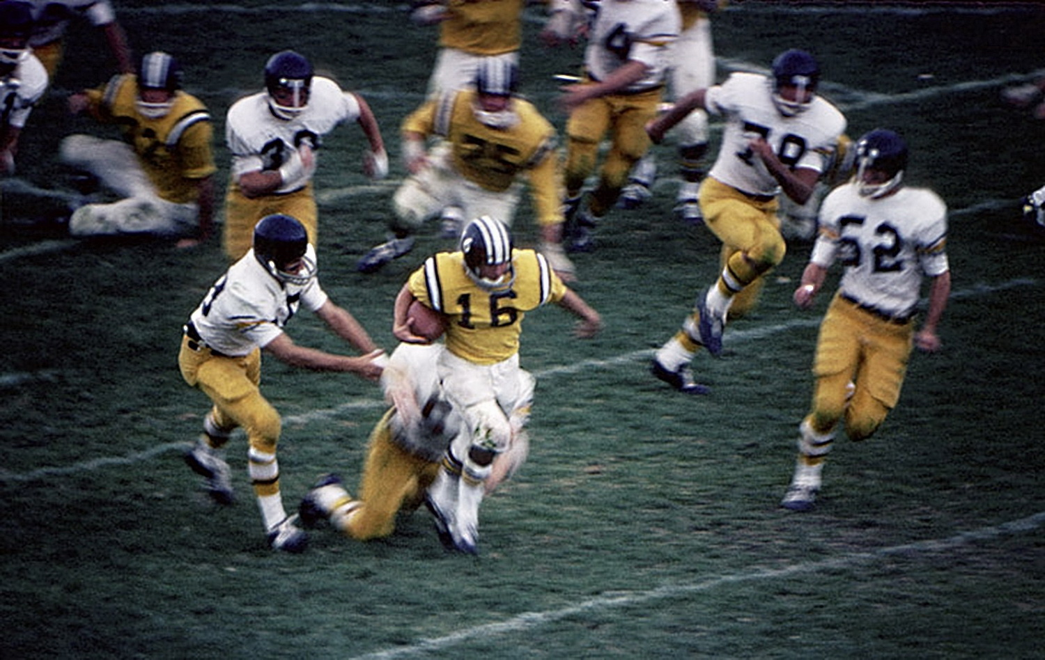 In the beginning:Dave Lanahao runs 99 yards from scrimmage. (Colorado College vs Colorado Mines) 1967. © 2015 David Burnett/Contact Press Images