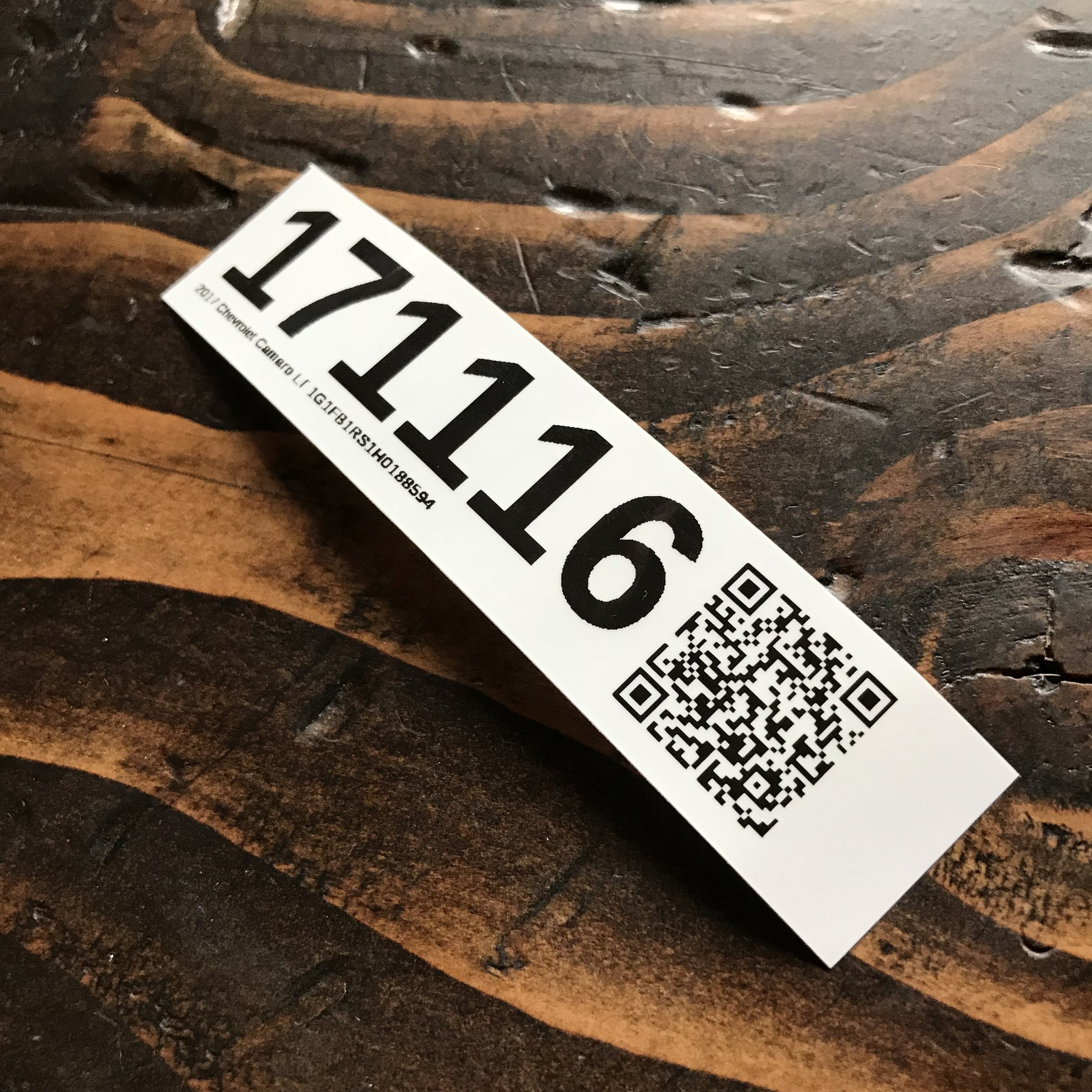 iLot Vehicle Labels with stock, trim, year, make, model, and VIN