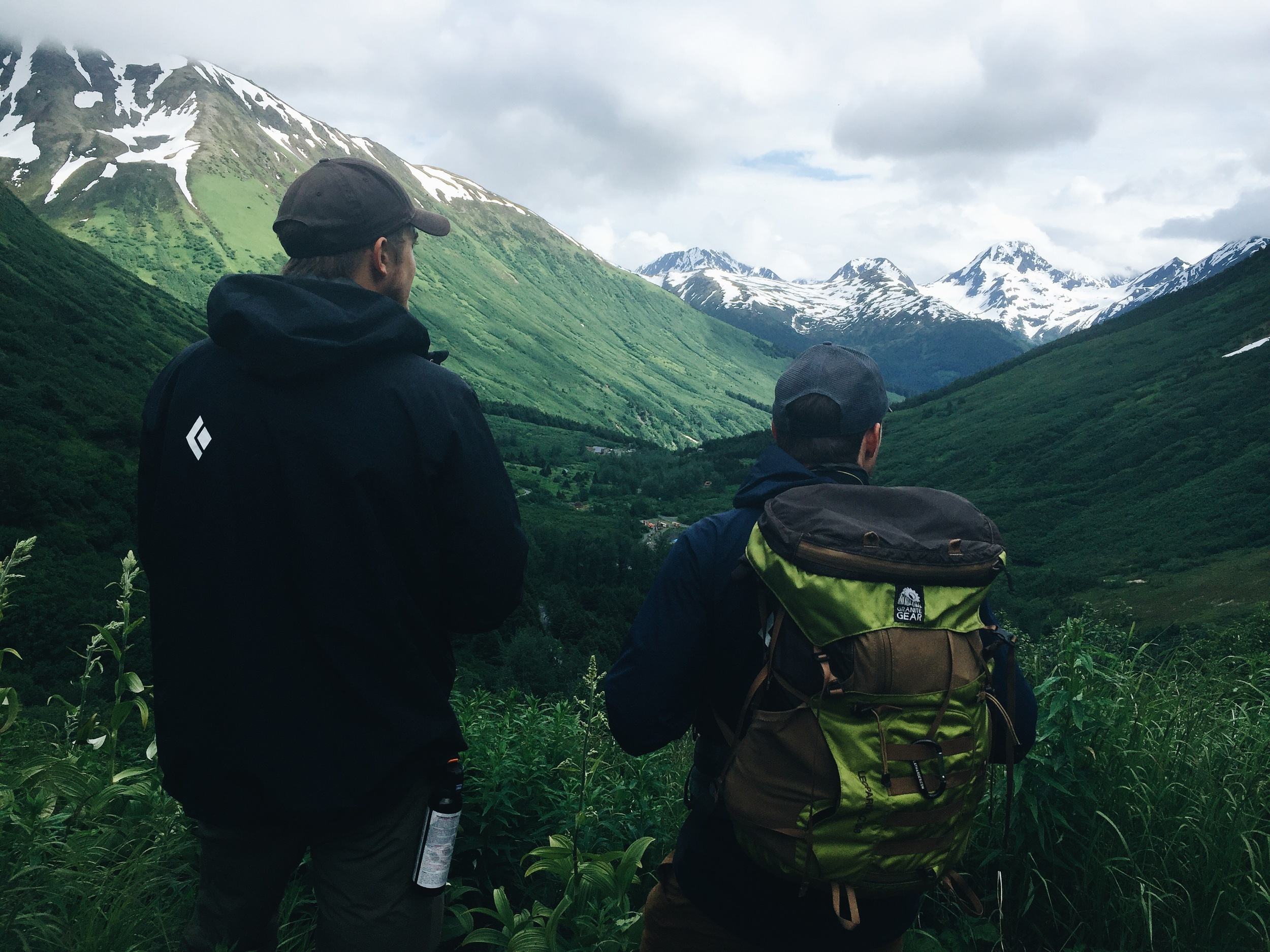 Scouting the descent from Crow Pass trail in Girdwood, Alaska.