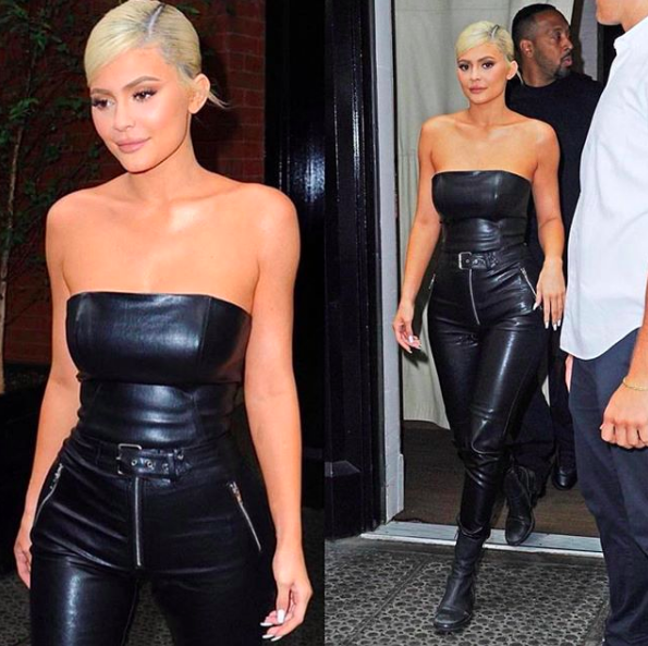 KYLIE JENNER IN BELTED LEATHER PANTS // AUGUST 2018